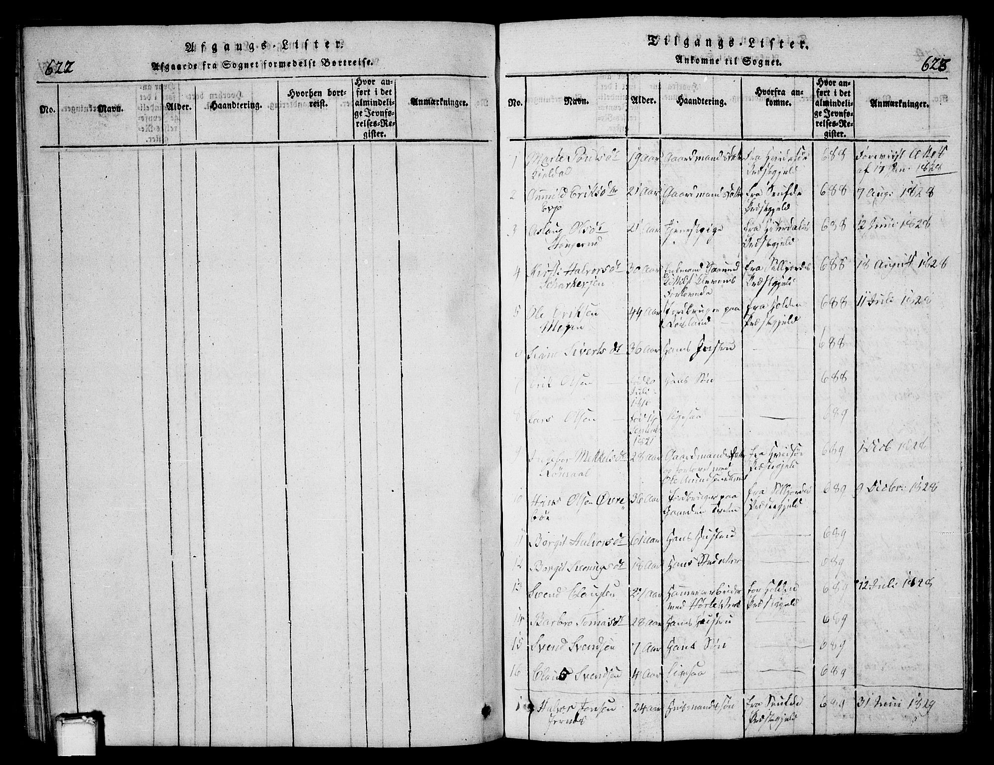 SAKO, Bø kirkebøker, G/Ga/L0001: Klokkerbok nr. 1, 1815-1831, s. 622-623