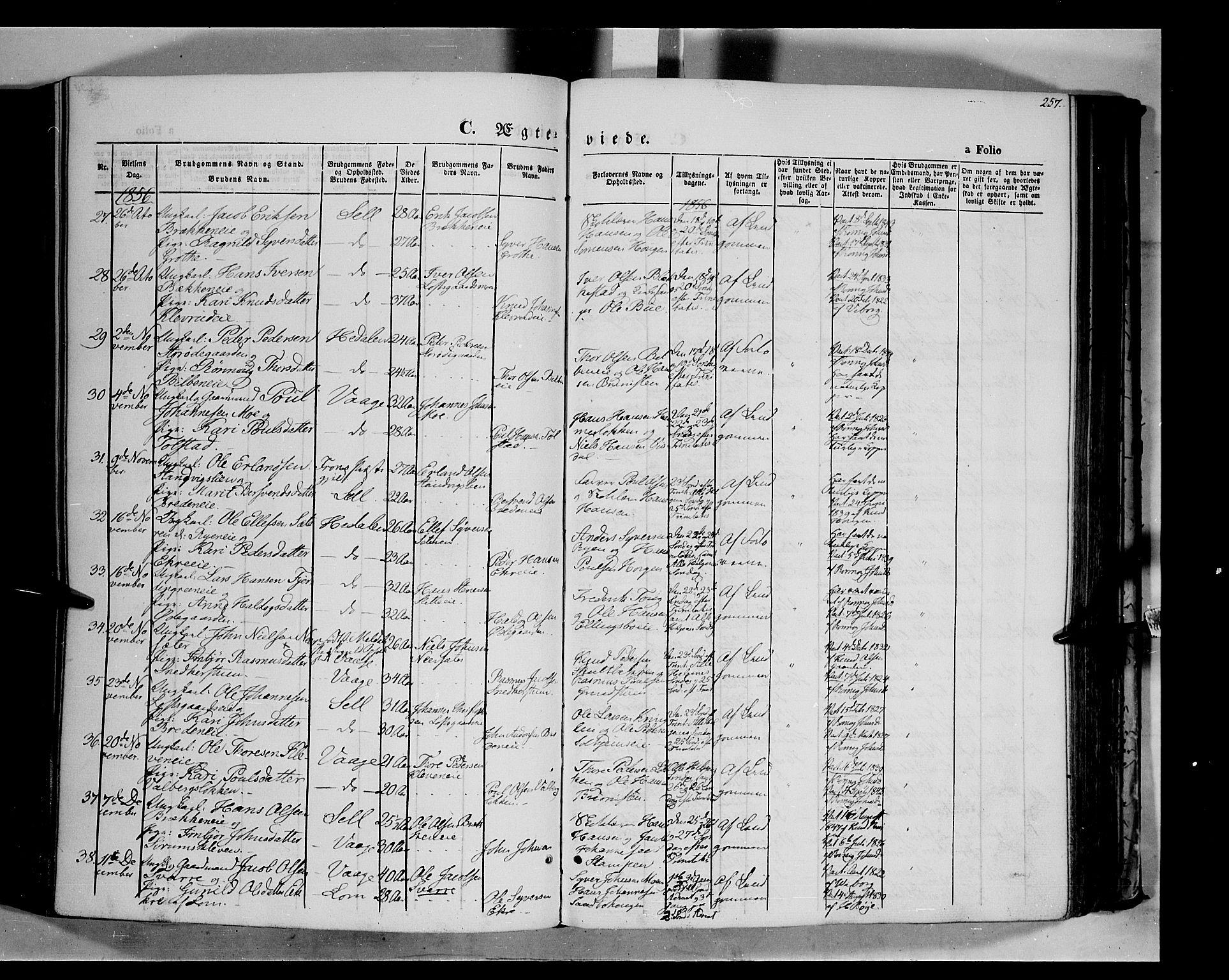 SAH, Vågå prestekontor, Ministerialbok nr. 6 /1, 1856-1872, s. 257