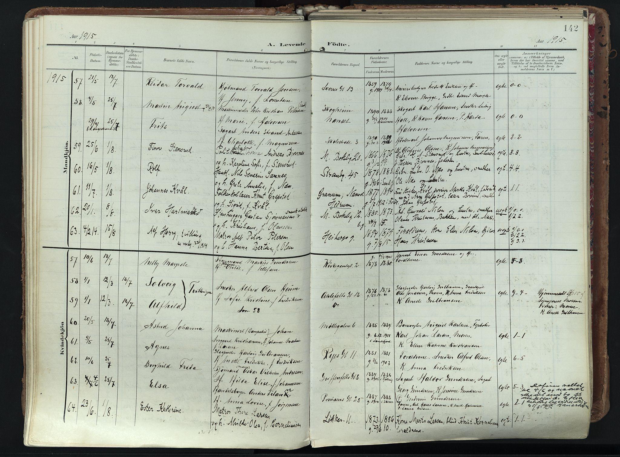 SAKO, Larvik kirkebøker, F/Fa/L0012: Ministerialbok nr. I 12, 1905-1933, s. 142