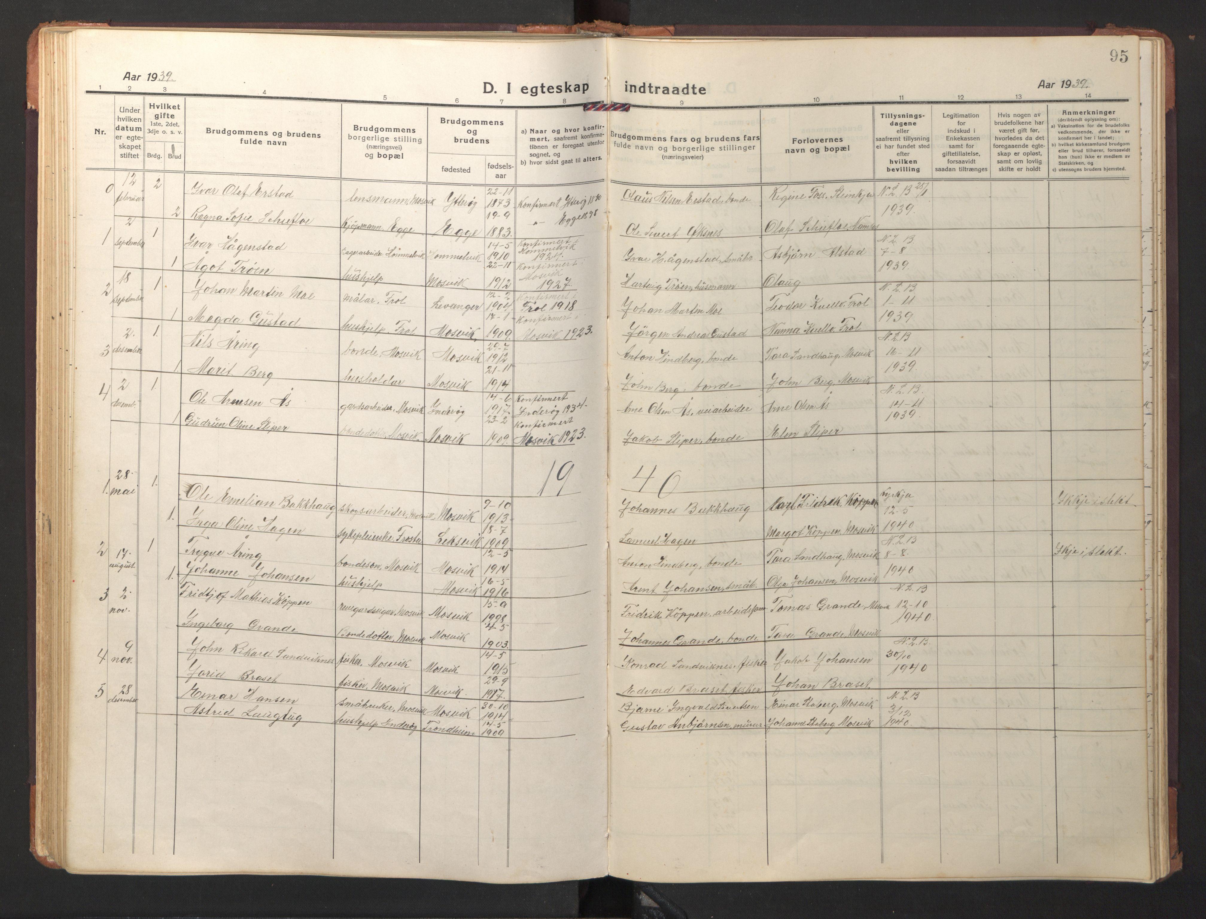 SAT, Ministerialprotokoller, klokkerbøker og fødselsregistre - Nord-Trøndelag, 733/L0328: Klokkerbok nr. 733C03, 1919-1966, s. 95