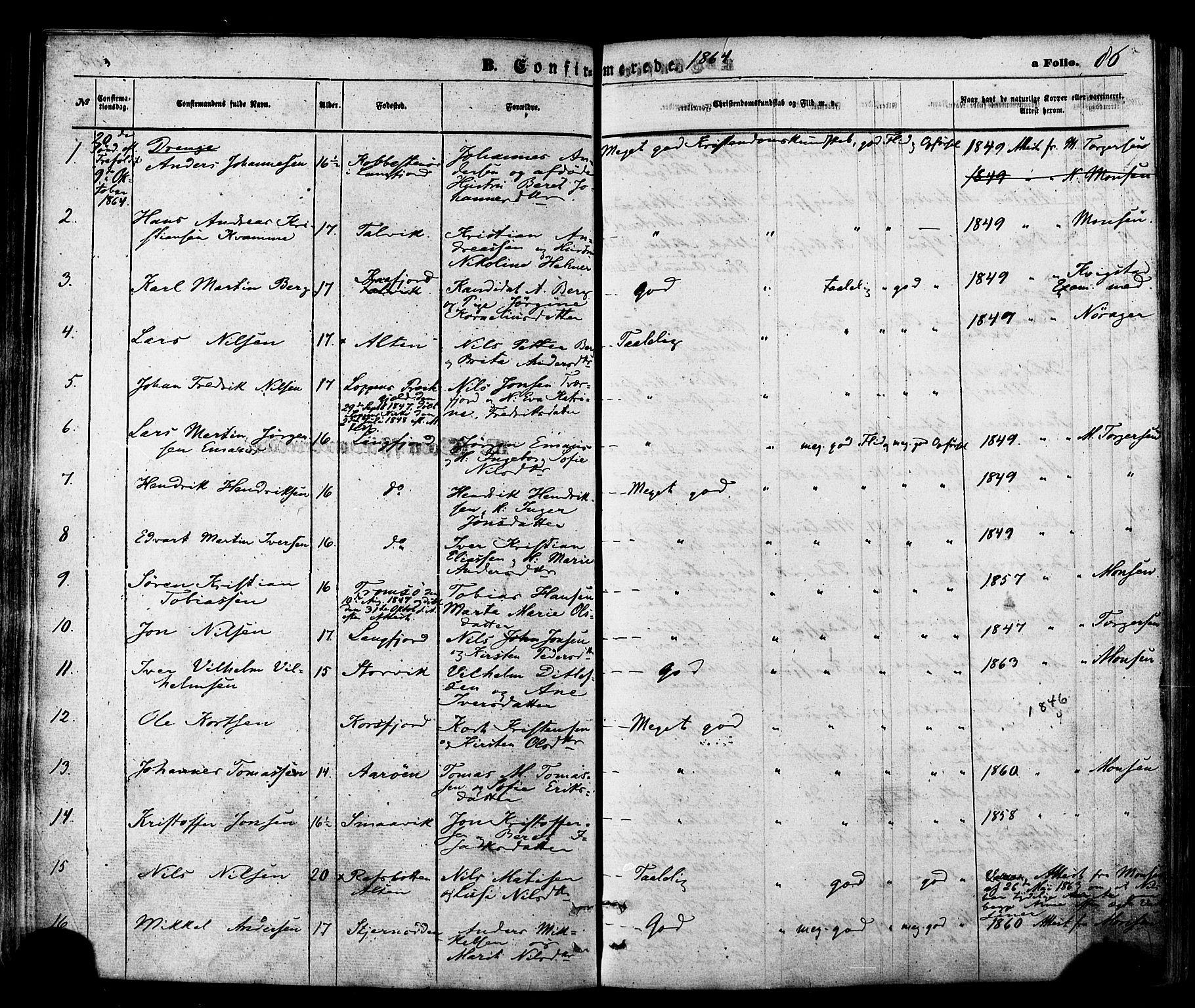 SATØ, Talvik sokneprestkontor, H/Ha/L0011kirke: Ministerialbok nr. 11, 1864-1877, s. 86