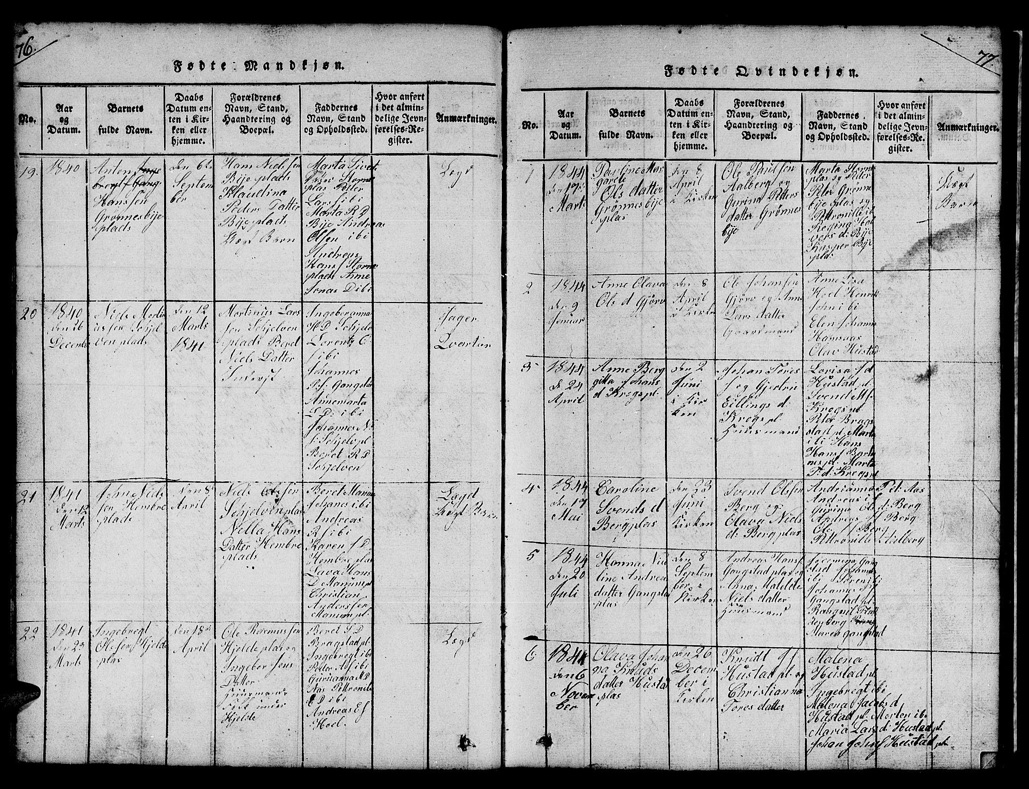 SAT, Ministerialprotokoller, klokkerbøker og fødselsregistre - Nord-Trøndelag, 732/L0317: Klokkerbok nr. 732C01, 1816-1881, s. 76-77
