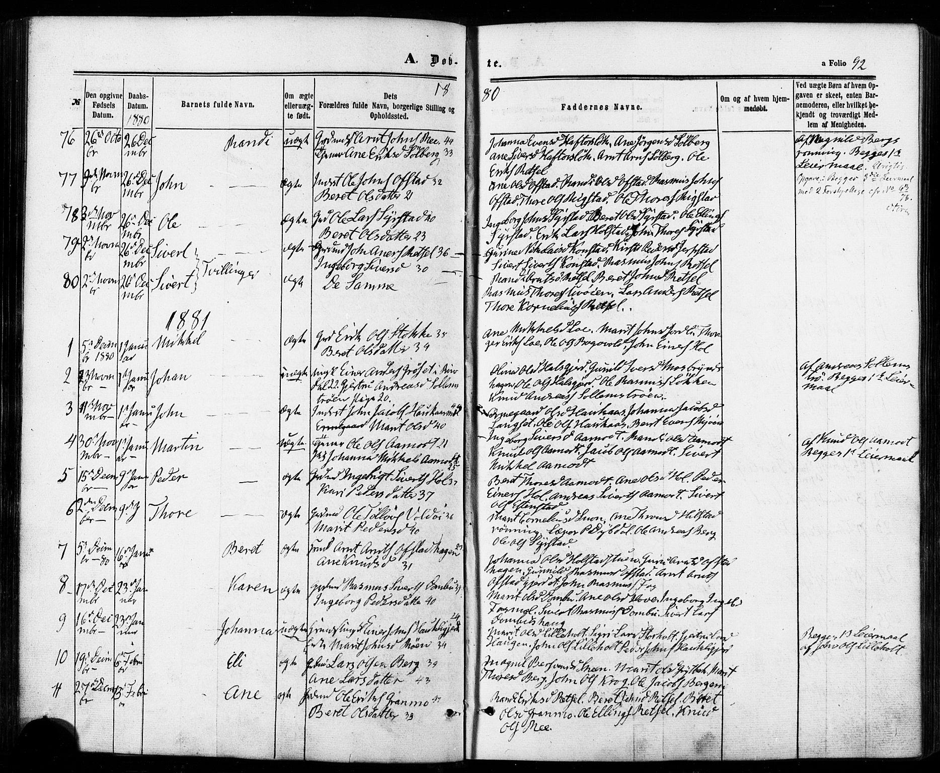 SAT, Ministerialprotokoller, klokkerbøker og fødselsregistre - Sør-Trøndelag, 672/L0856: Ministerialbok nr. 672A08, 1861-1881, s. 92