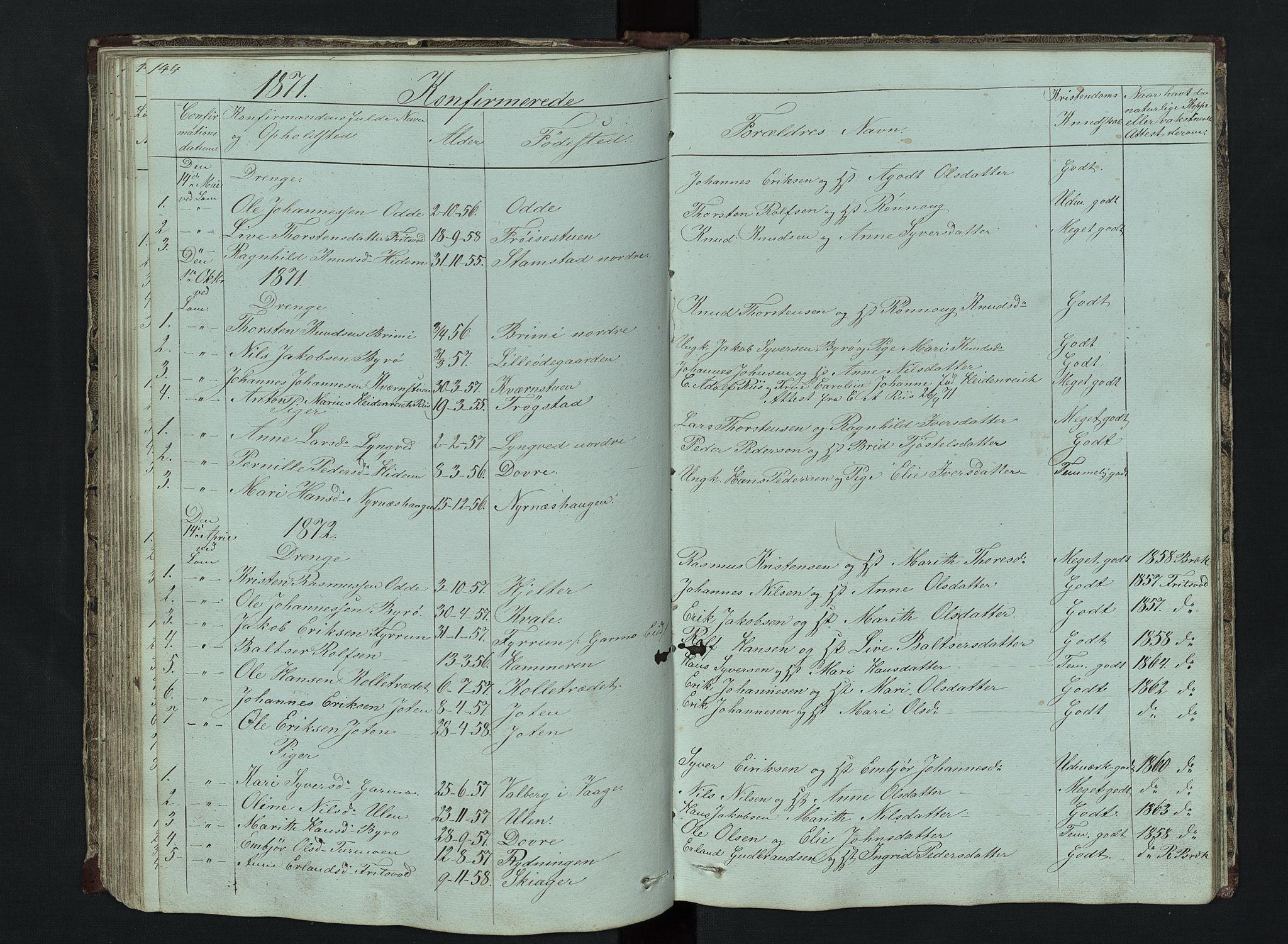 SAH, Lom prestekontor, L/L0014: Klokkerbok nr. 14, 1845-1876, s. 144-145