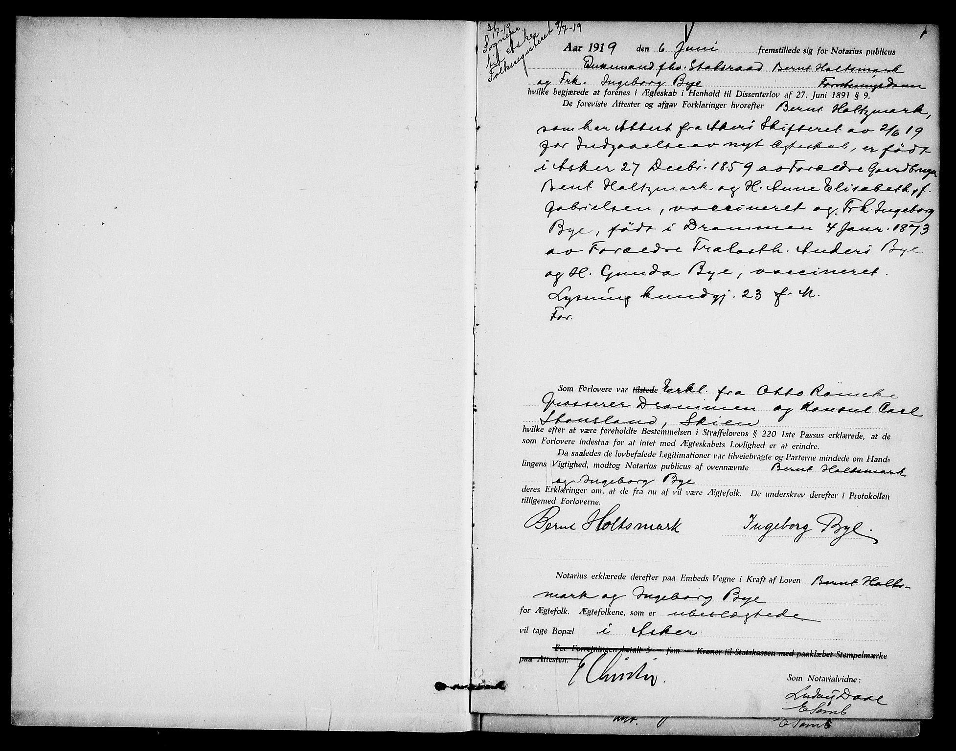 SAO, Oslo byfogd avd. I, L/Lb/Lbb/L0013: Notarialprotokoll, rekke II: Vigsler, 1919-1920, s. 1