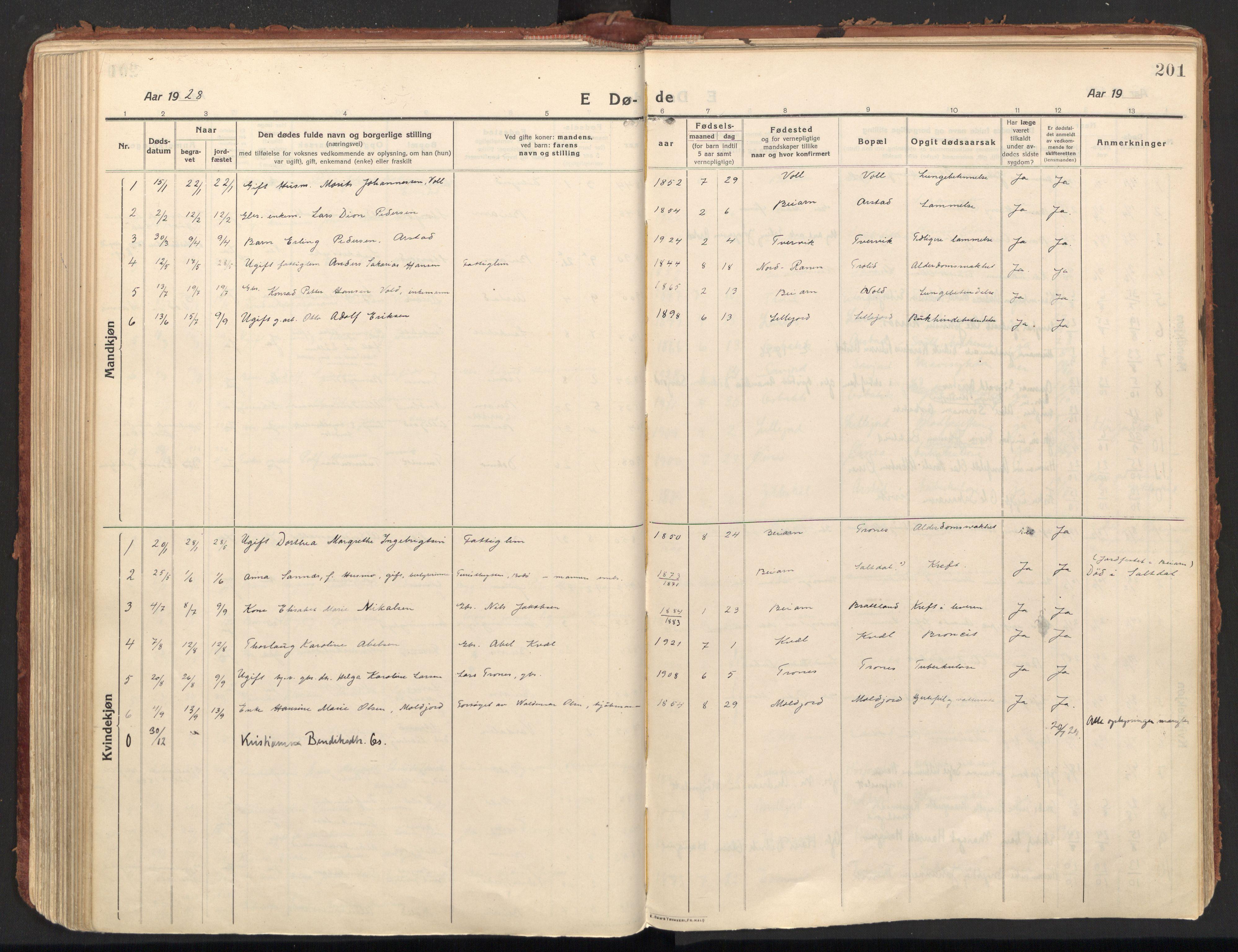 SAT, Ministerialprotokoller, klokkerbøker og fødselsregistre - Nordland, 846/L0650: Ministerialbok nr. 846A08, 1916-1935, s. 201
