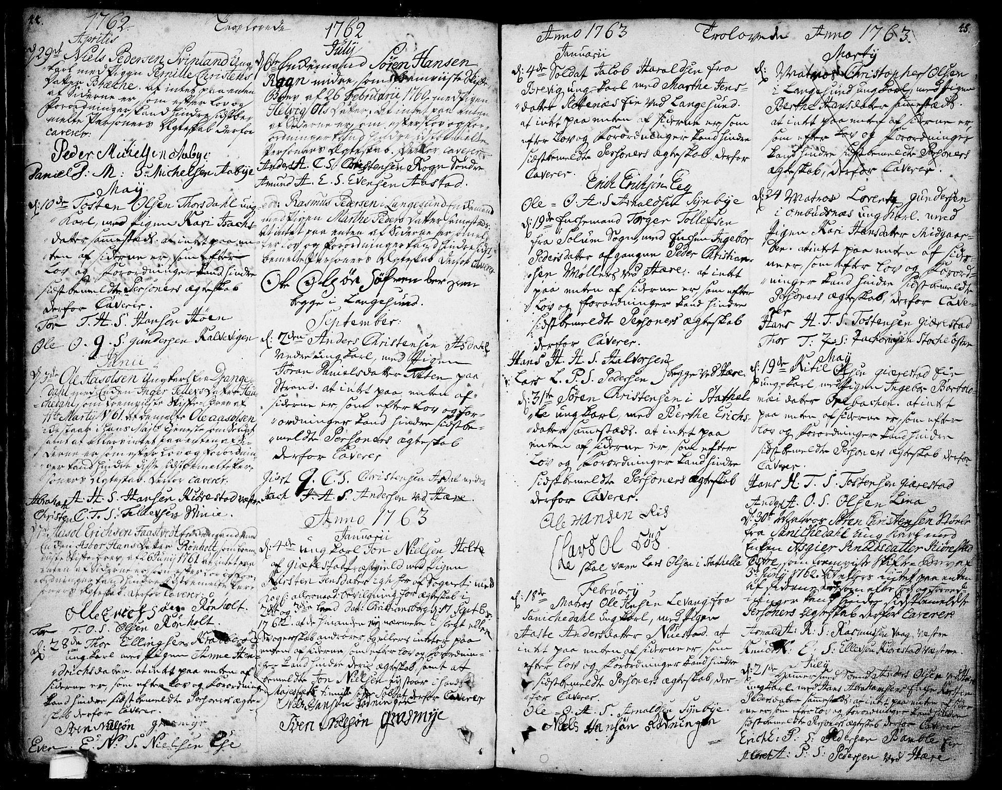 SAKO, Bamble kirkebøker, F/Fa/L0001: Ministerialbok nr. I 1, 1702-1774, s. 44-45
