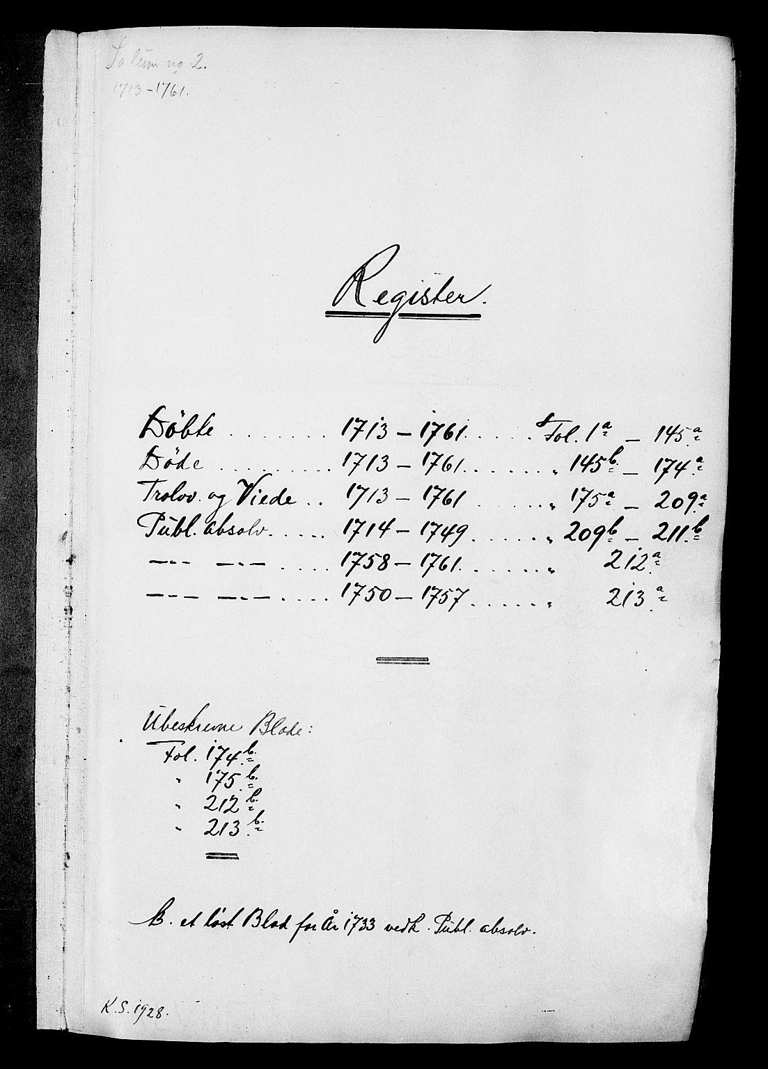 SAKO, Solum kirkebøker, F/Fa/L0002: Ministerialbok nr. I 2, 1713-1761