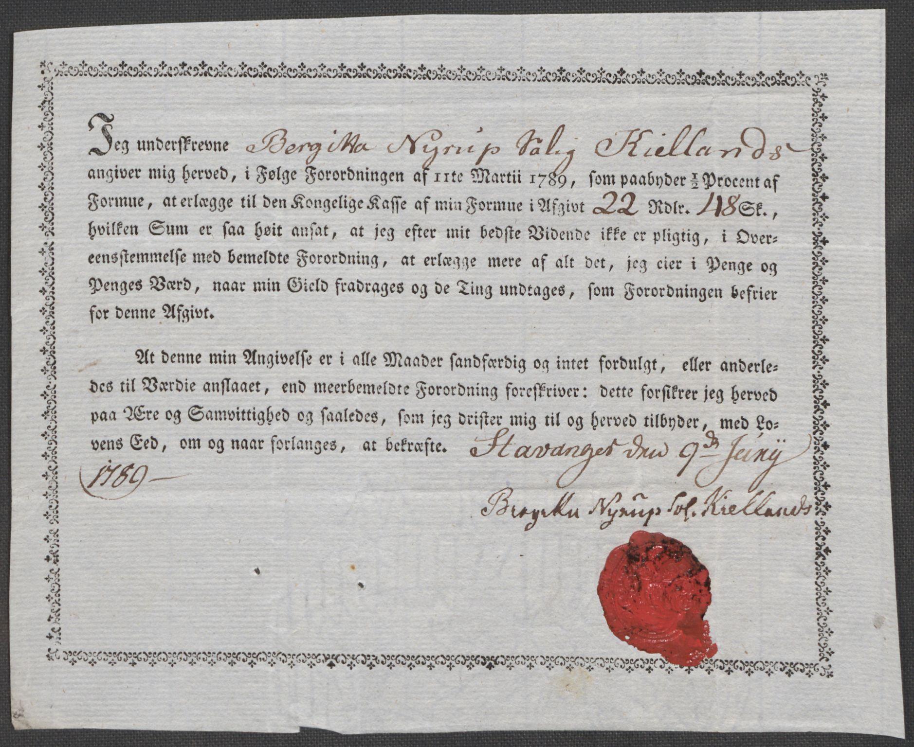 RA, Rentekammeret inntil 1814, Reviderte regnskaper, Mindre regnskaper, Rf/Rfe/L0045: Stavanger, Stjørdal og Verdal fogderi, 1789, s. 86