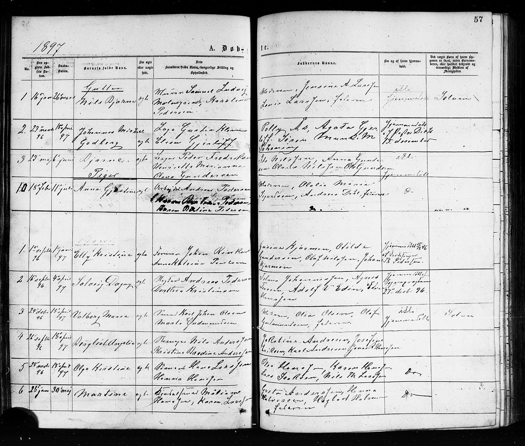 SAKO, Porsgrunn kirkebøker , G/Ga/L0003: Klokkerbok nr. I 3, 1877-1915, s. 57