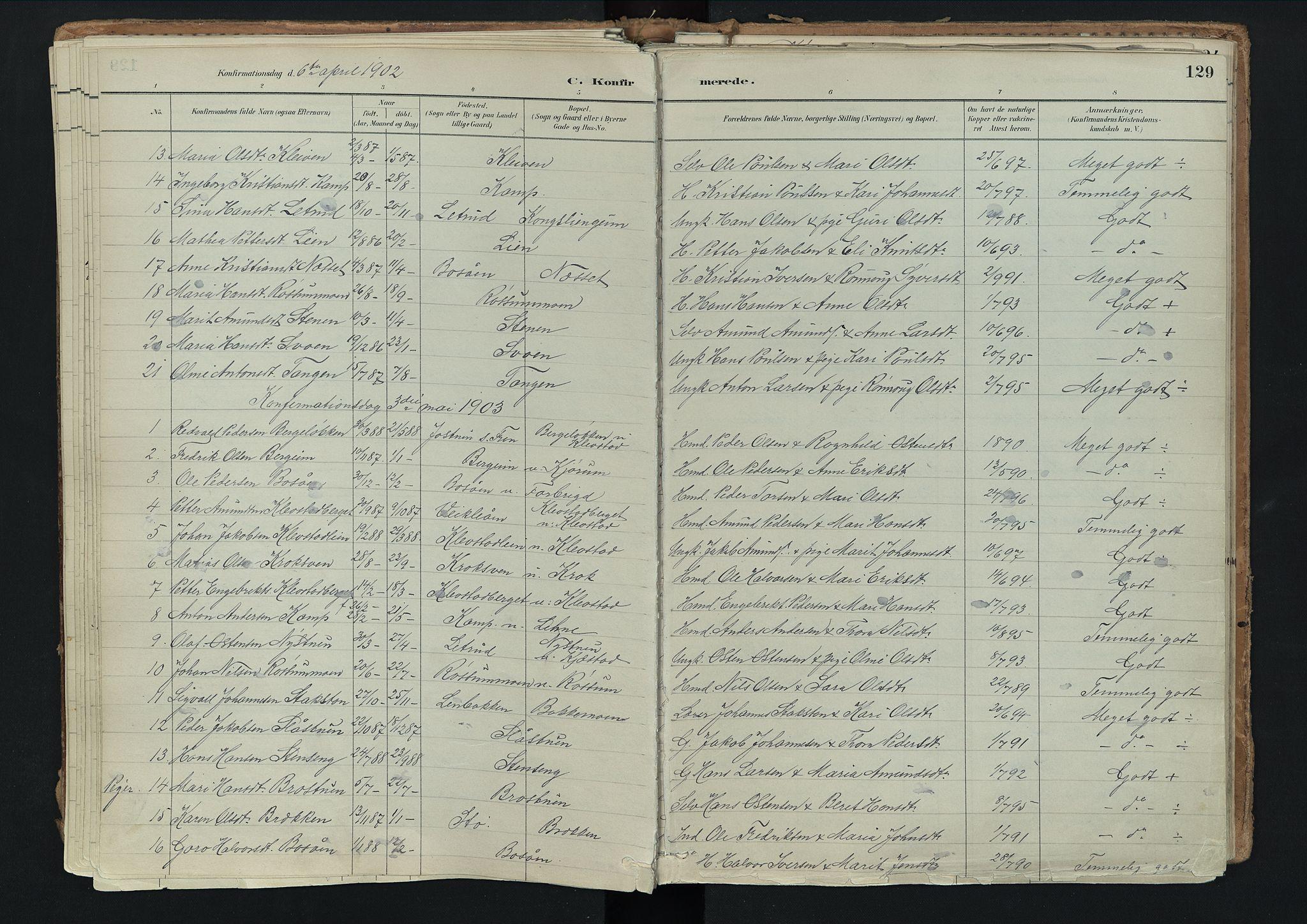 SAH, Nord-Fron prestekontor, Ministerialbok nr. 3, 1884-1914, s. 129