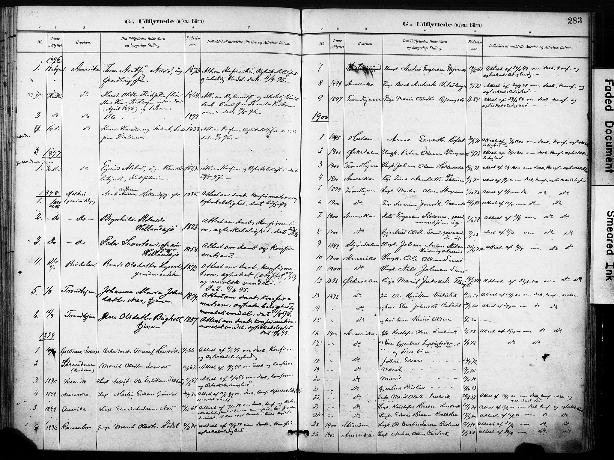 SAT, Ministerialprotokoller, klokkerbøker og fødselsregistre - Sør-Trøndelag, 630/L0497: Ministerialbok nr. 630A10, 1896-1910, s. 283