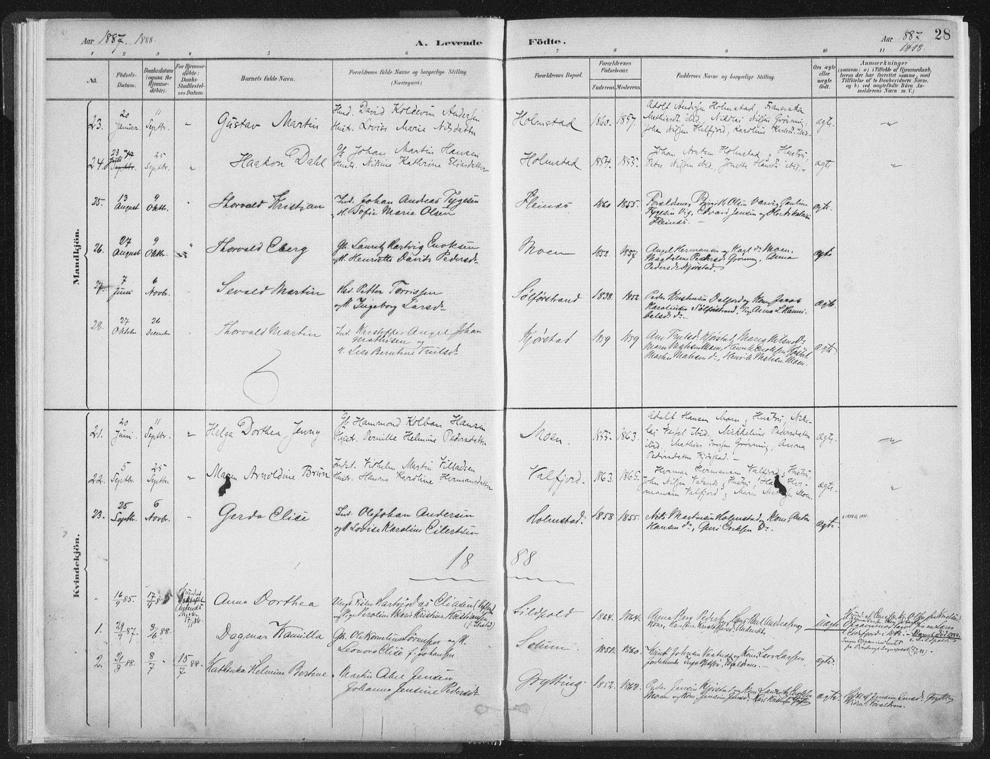 SAT, Ministerialprotokoller, klokkerbøker og fødselsregistre - Nordland, 890/L1286: Ministerialbok nr. 890A01, 1882-1902, s. 28