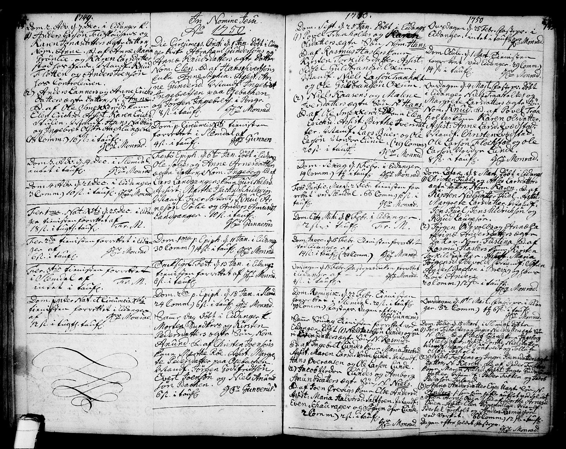 SAKO, Eidanger kirkebøker, F/Fa/L0004: Ministerialbok nr. 4, 1733-1759, s. 144-145