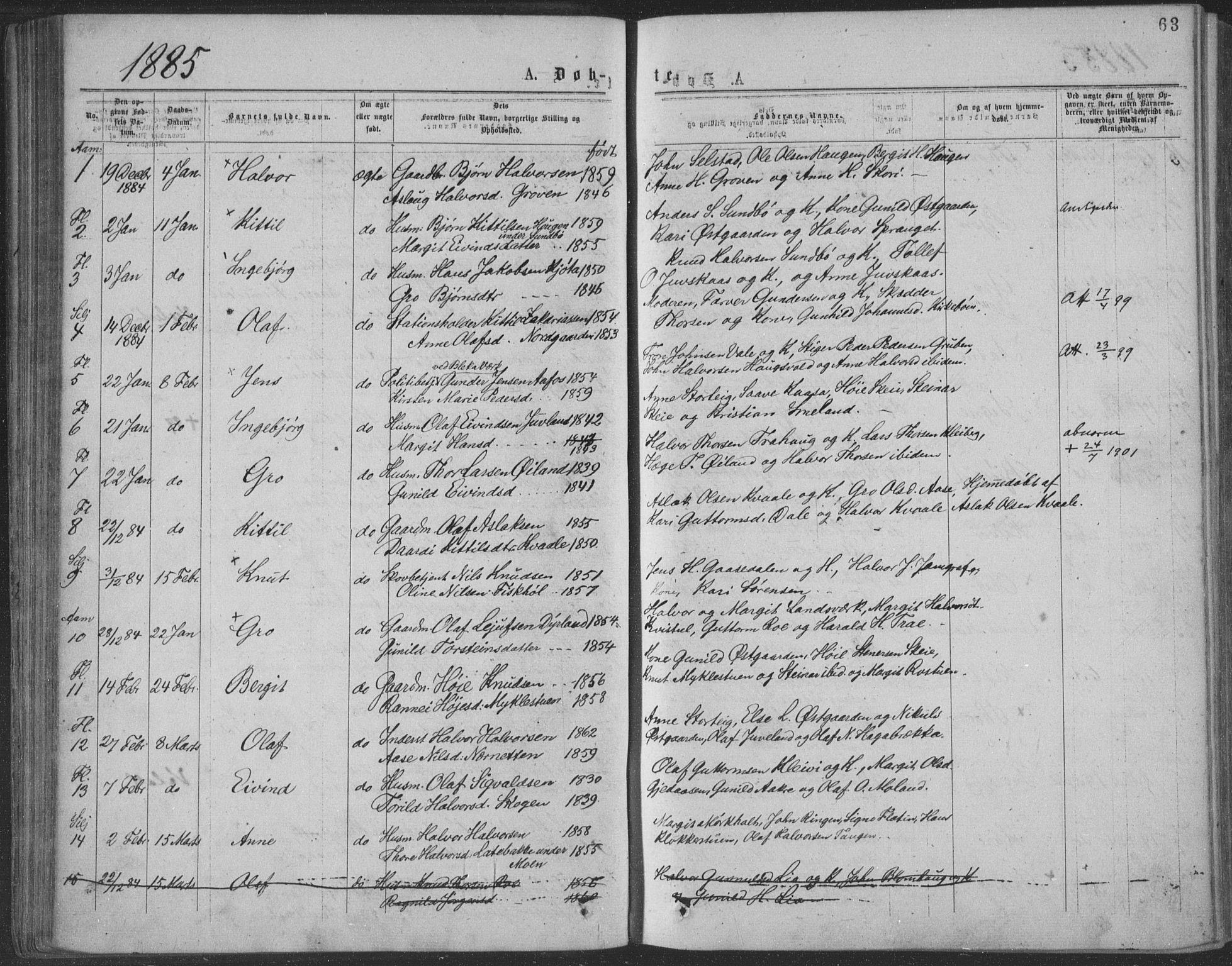 SAKO, Seljord kirkebøker, F/Fa/L0014: Ministerialbok nr. I 14, 1877-1886, s. 63