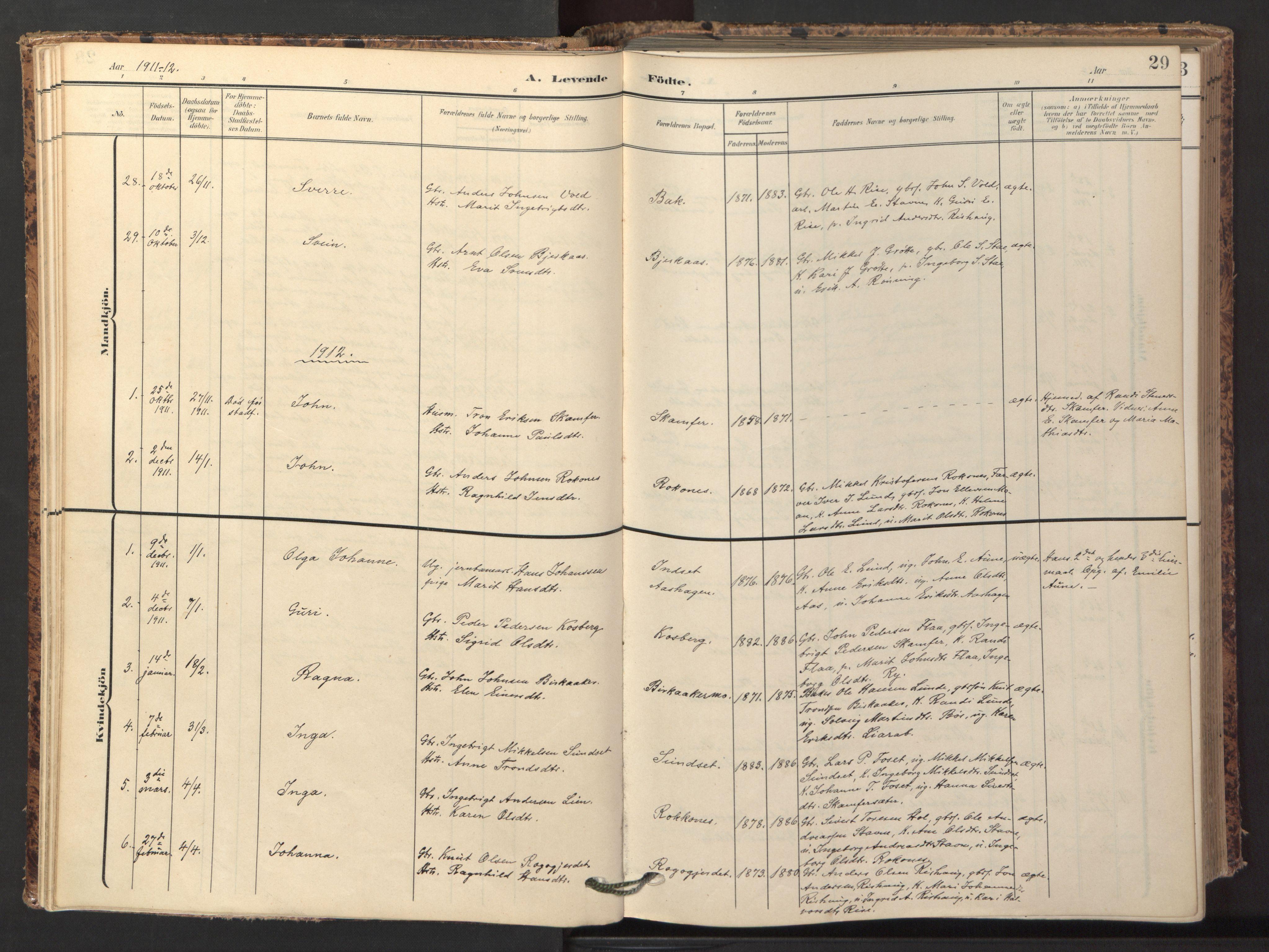 SAT, Ministerialprotokoller, klokkerbøker og fødselsregistre - Sør-Trøndelag, 674/L0873: Ministerialbok nr. 674A05, 1908-1923, s. 29