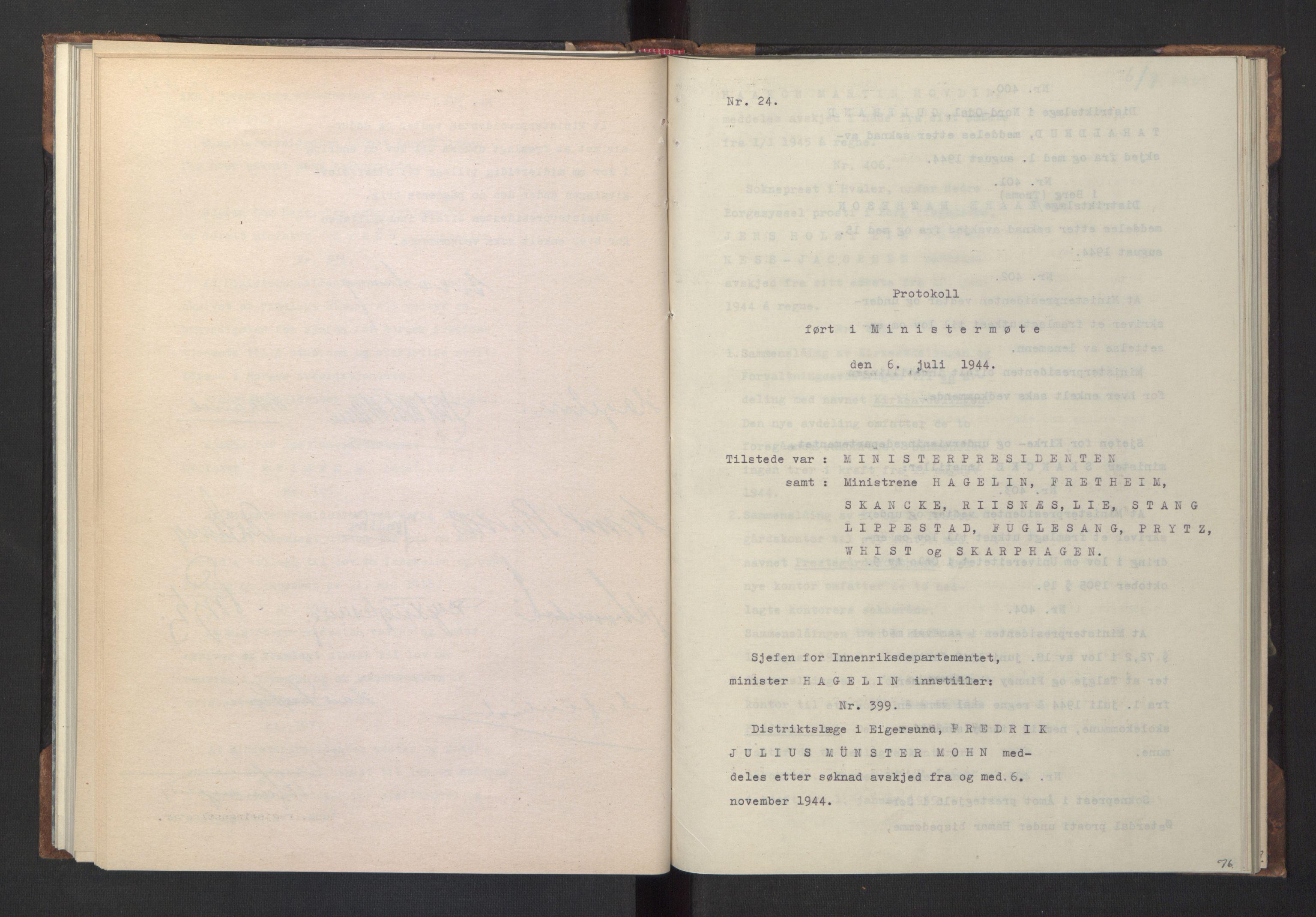 RA, NS-administrasjonen 1940-1945 (Statsrådsekretariatet, de kommisariske statsråder mm), D/Da/L0005: Protokoll fra ministermøter, 1944, s. 75b-76a