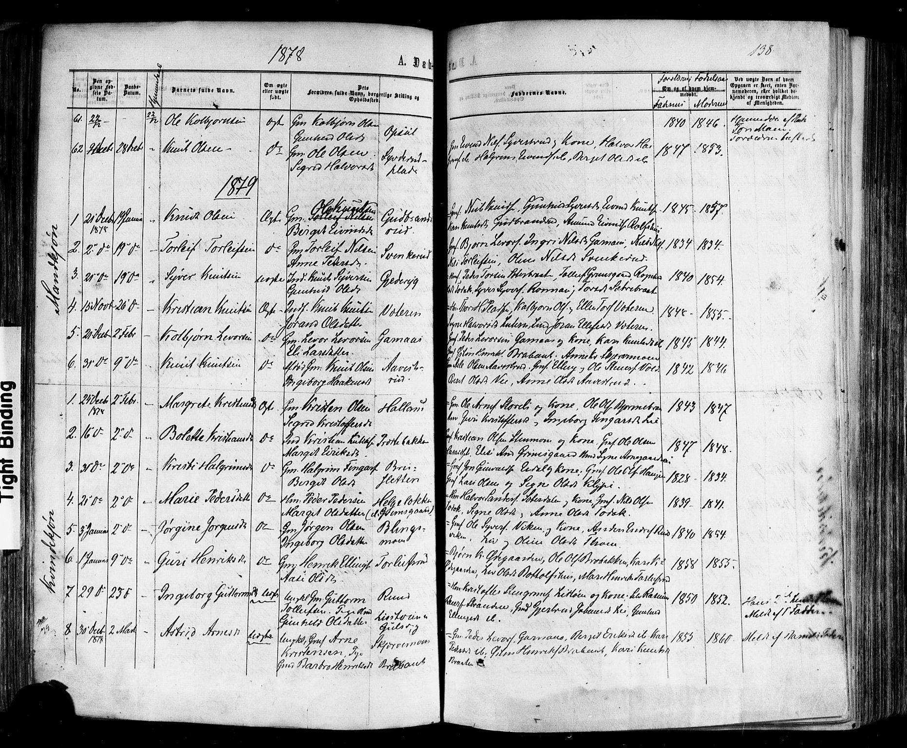 SAKO, Nes kirkebøker, F/Fa/L0010: Ministerialbok nr. 10, 1864-1880, s. 138