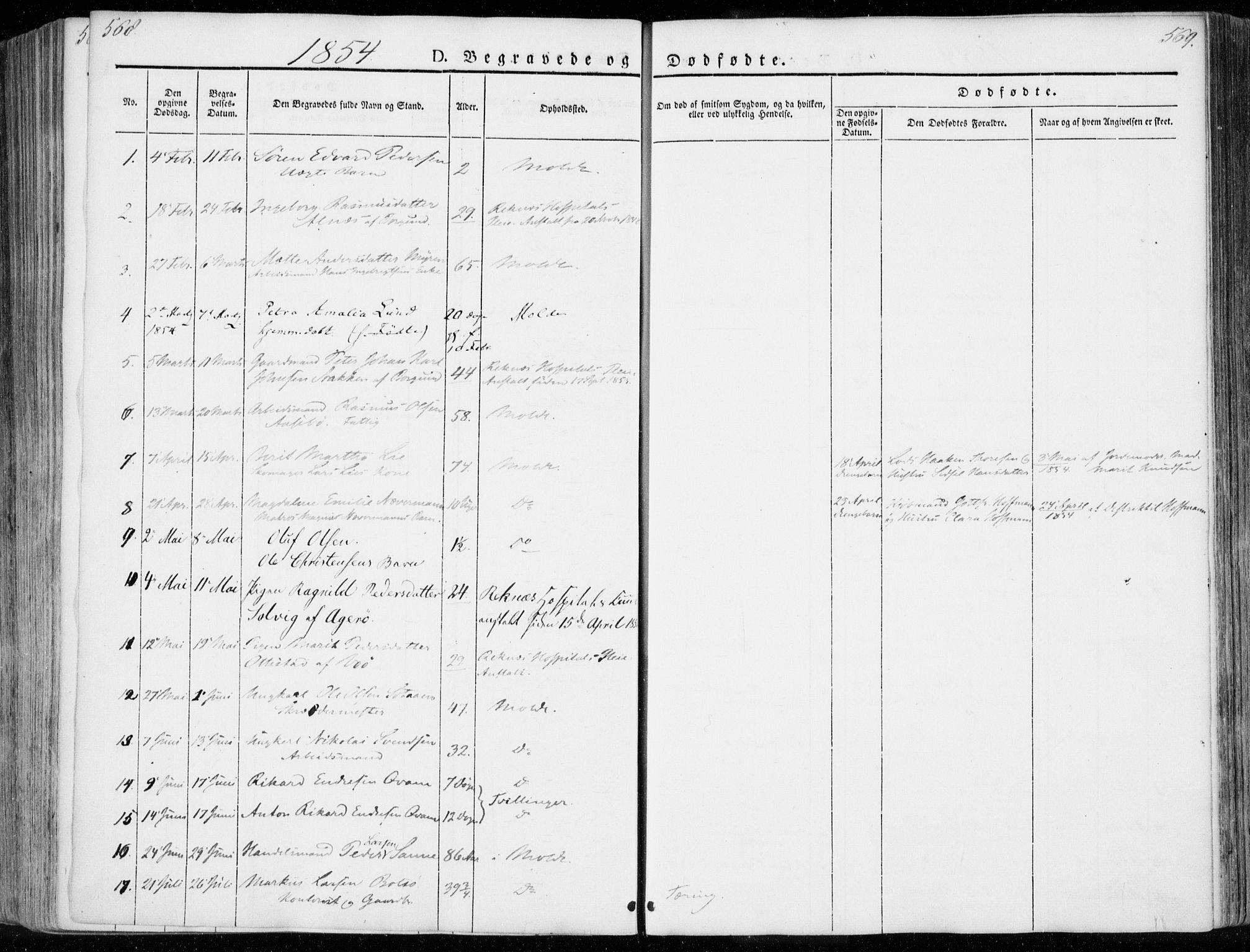 SAT, Ministerialprotokoller, klokkerbøker og fødselsregistre - Møre og Romsdal, 558/L0689: Ministerialbok nr. 558A03, 1843-1872, s. 568-569