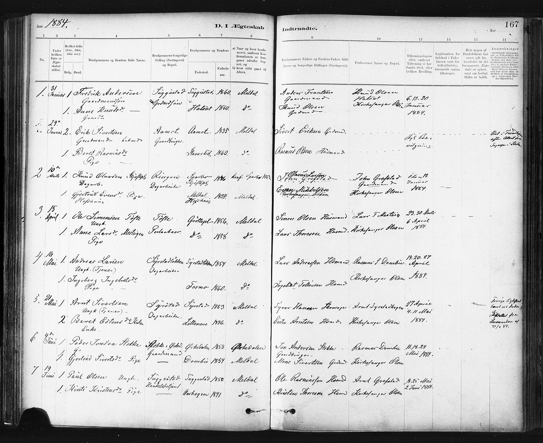 SAT, Ministerialprotokoller, klokkerbøker og fødselsregistre - Sør-Trøndelag, 672/L0857: Ministerialbok nr. 672A09, 1882-1893, s. 167