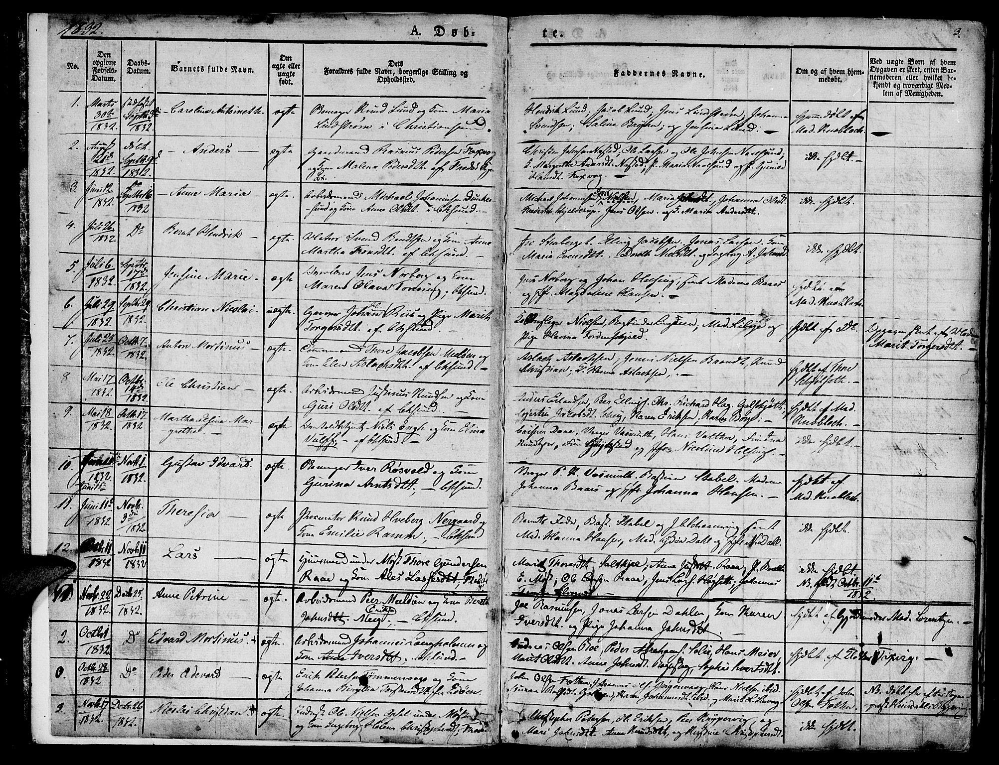 SAT, Ministerialprotokoller, klokkerbøker og fødselsregistre - Møre og Romsdal, 572/L0843: Ministerialbok nr. 572A06, 1832-1842, s. 3