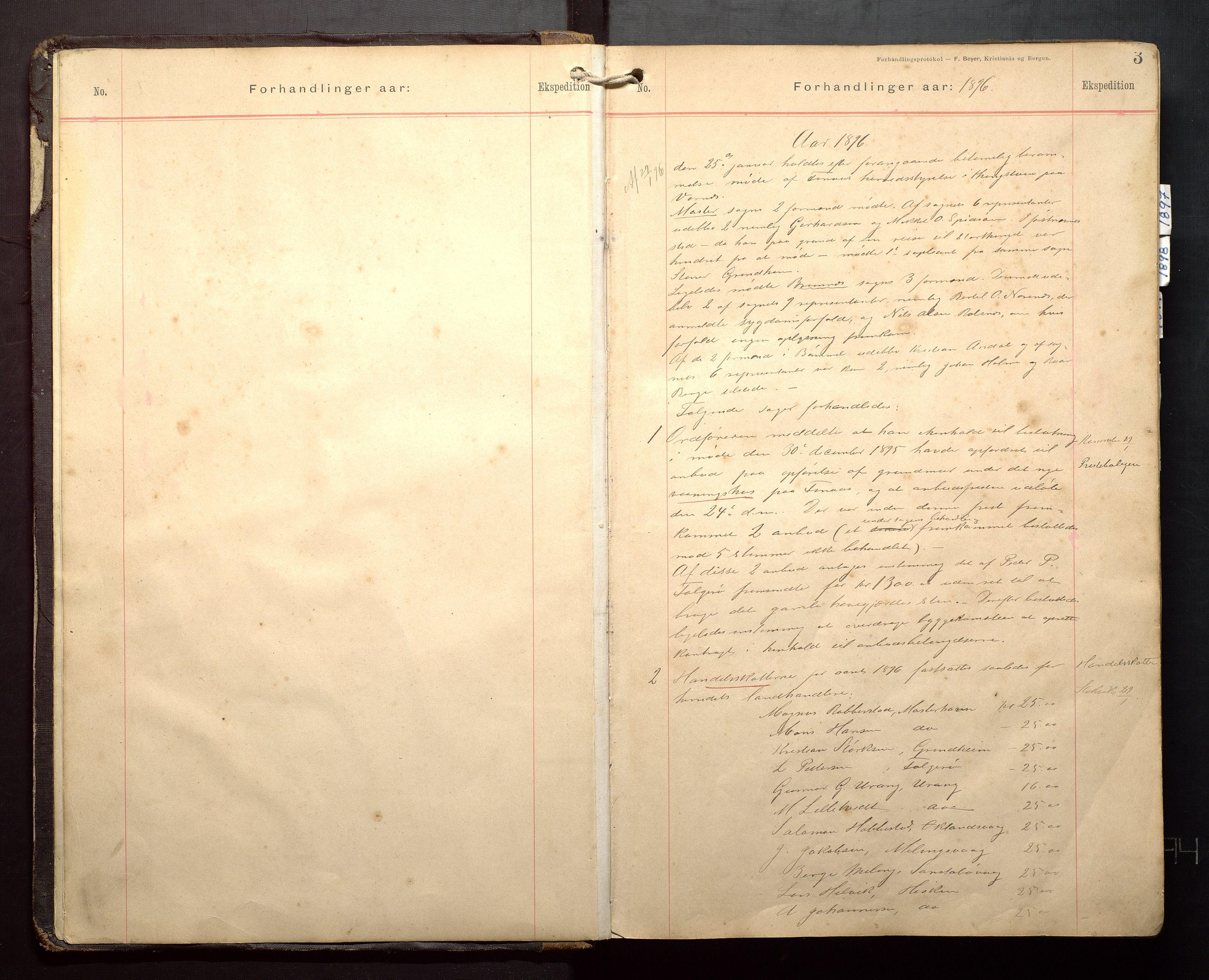 IKAH, Finnaas kommune. Formannskapet, A/Aa/L0003: Møtebok for formannskap, heradsstyre og soknestyre, 1896-1908, s. 3