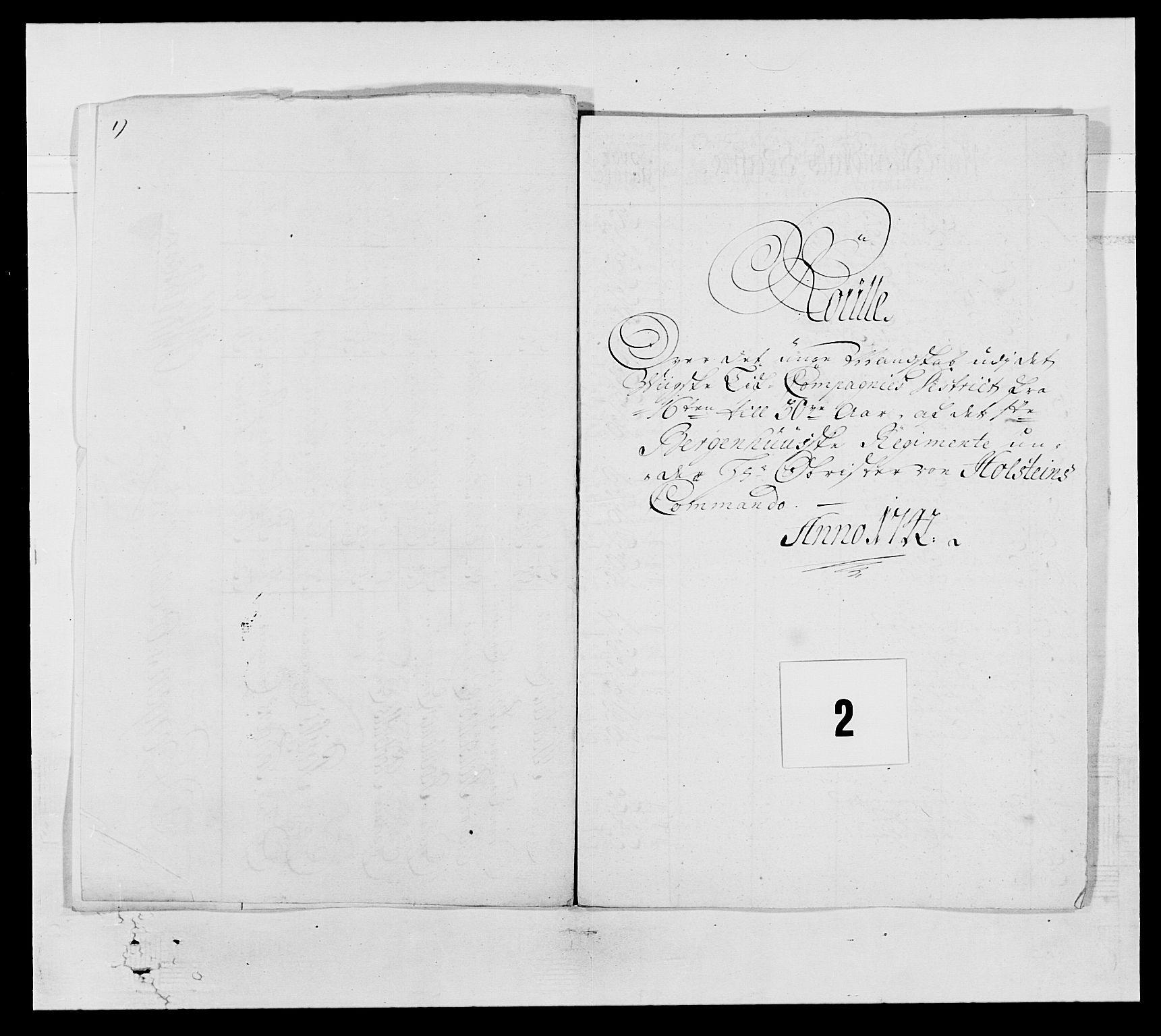 RA, Kommanderende general (KG I) med Det norske krigsdirektorium, E/Ea/L0517: 1. Bergenhusiske regiment, 1742-1756, s. 8