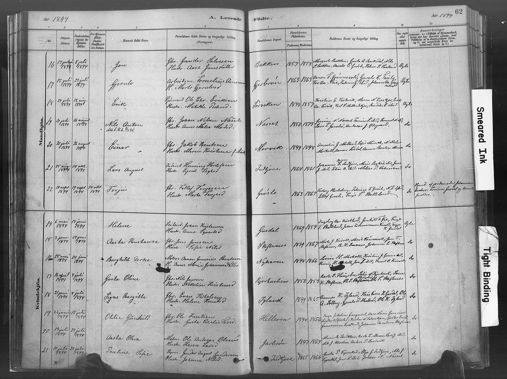 SAK, Hommedal sokneprestkontor, F/Fa/Fab/L0006: Ministerialbok nr. A 6, 1878-1897, s. 62