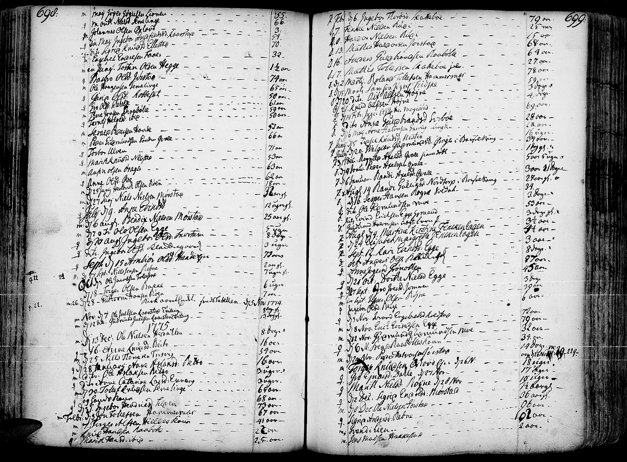 SAH, Slidre prestekontor, Ministerialbok nr. 1, 1724-1814, s. 698-699