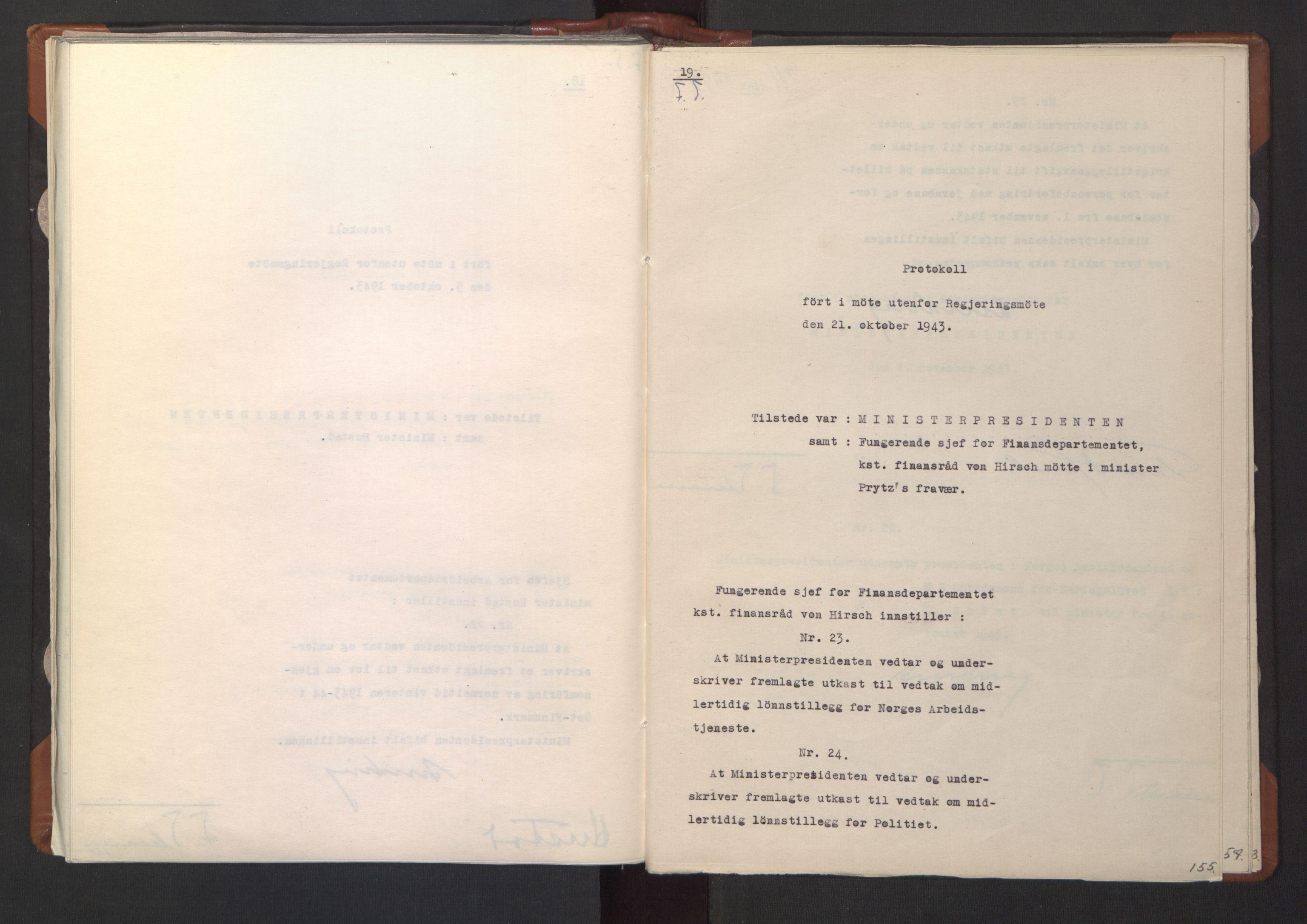 RA, NS-administrasjonen 1940-1945 (Statsrådsekretariatet, de kommisariske statsråder mm), D/Da/L0003: Vedtak (Beslutninger) nr. 1-746 og tillegg nr. 1-47 (RA. j.nr. 1394/1944, tilgangsnr. 8/1944, 1943, s. 154b-155a