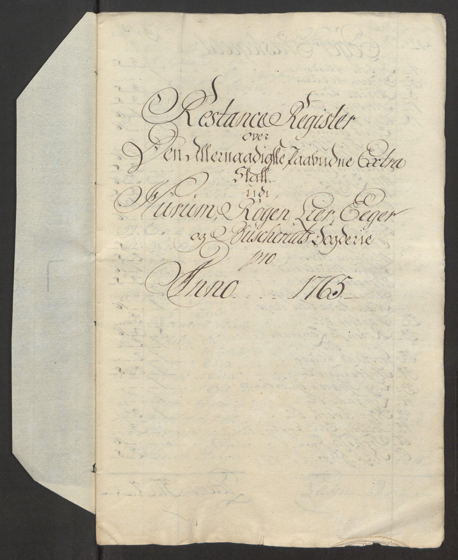 RA, Rentekammeret inntil 1814, Reviderte regnskaper, Fogderegnskap, R31/L1834: Ekstraskatten Hurum, Røyken, Eiker, Lier og Buskerud, 1765, s. 475