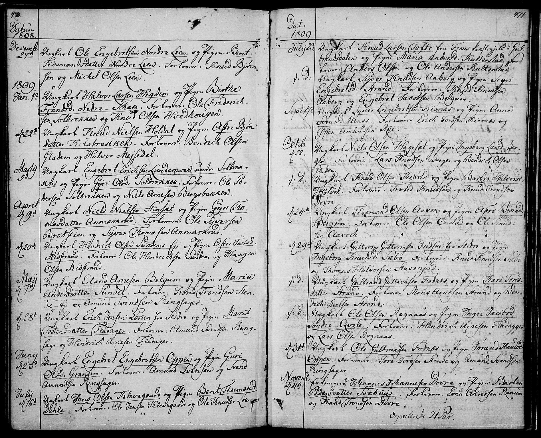 SAH, Nord-Aurdal prestekontor, Ministerialbok nr. 1, 1808-1815, s. 470-471