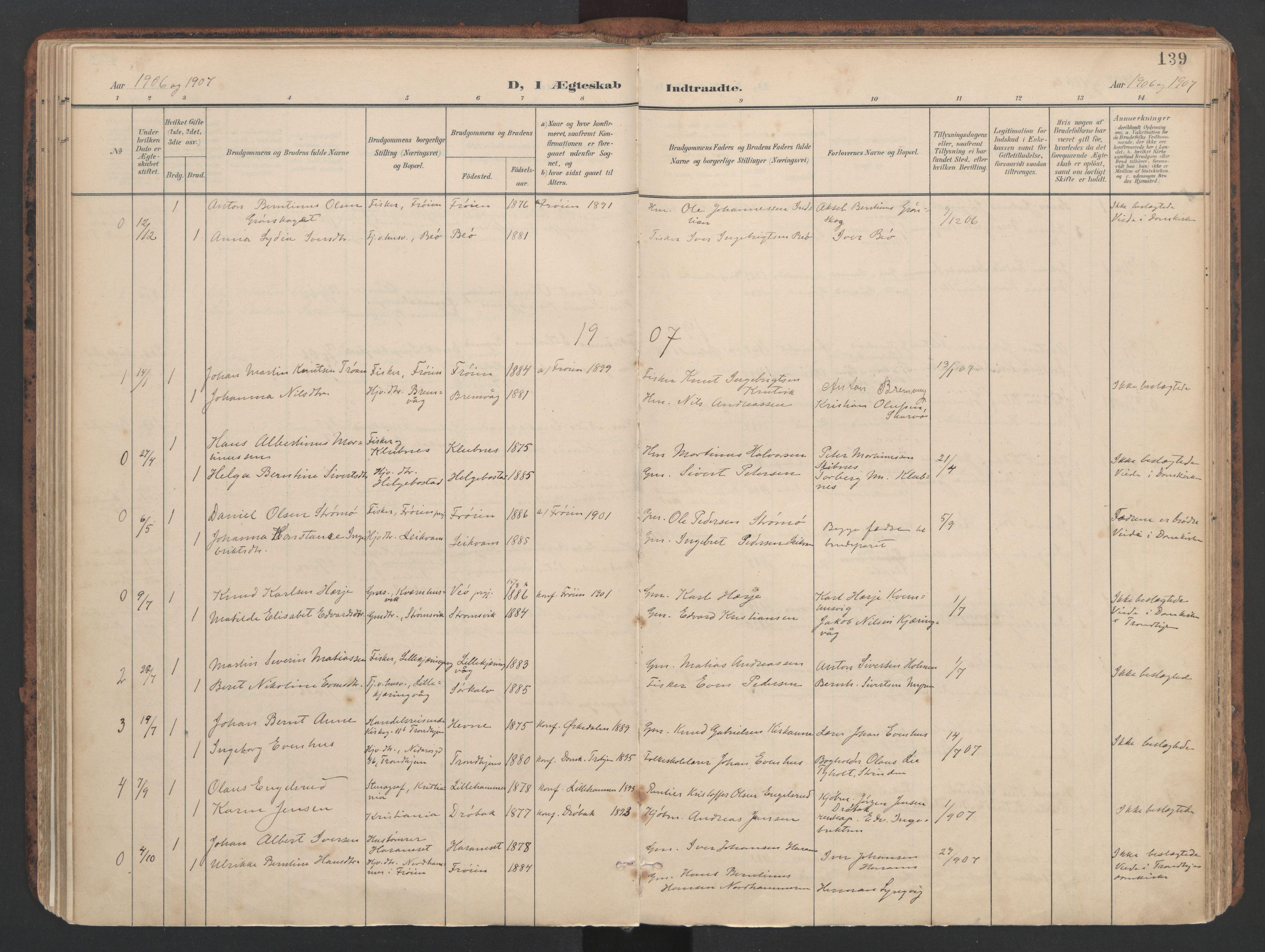 SAT, Ministerialprotokoller, klokkerbøker og fødselsregistre - Sør-Trøndelag, 634/L0537: Ministerialbok nr. 634A13, 1896-1922, s. 139