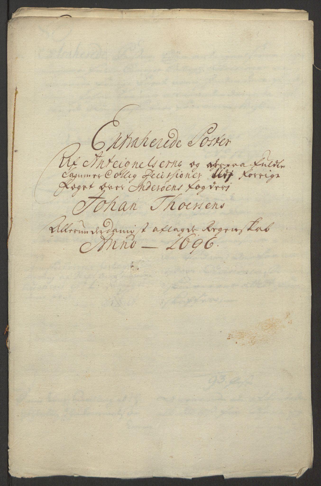 RA, Rentekammeret inntil 1814, Reviderte regnskaper, Fogderegnskap, R63/L4309: Fogderegnskap Inderøy, 1695-1697, s. 365