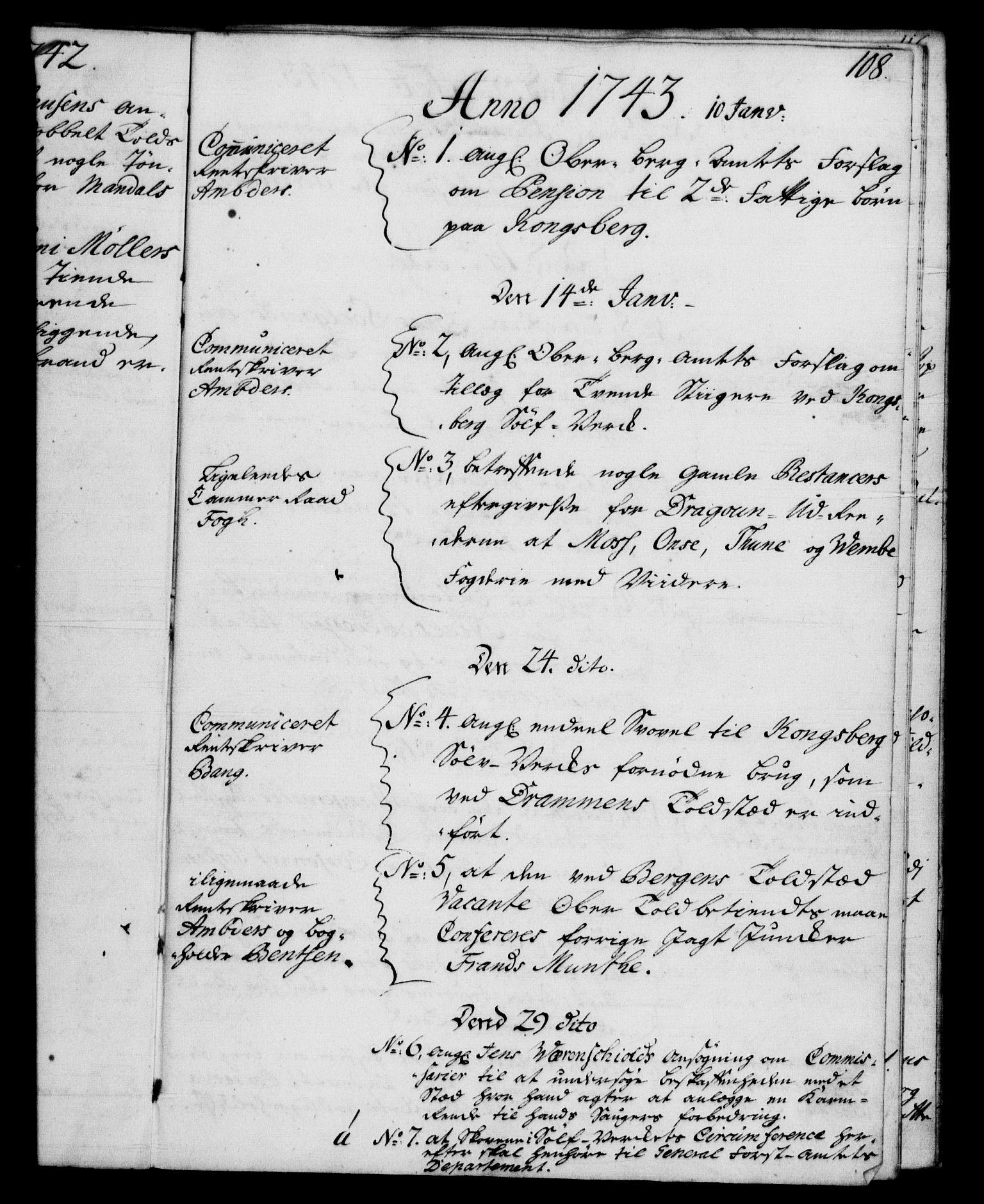 RA, Rentekammeret, Kammerkanselliet, G/Gf/Gfb/L0004: Register til norske relasjons- og resolusjonsprotokoller (merket RK 52.99), 1736-1743, s. 108