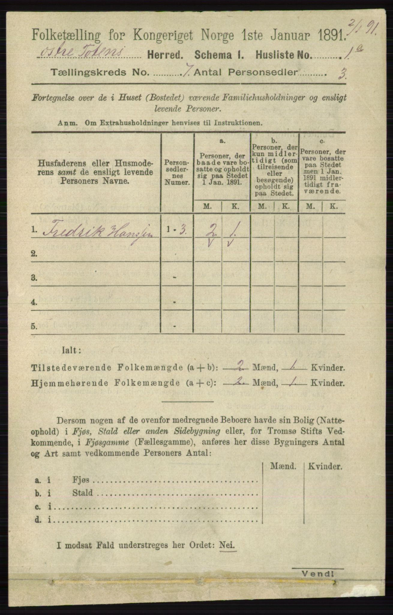 RA, Folketelling 1891 for 0528 Østre Toten herred, 1891, s. 4351