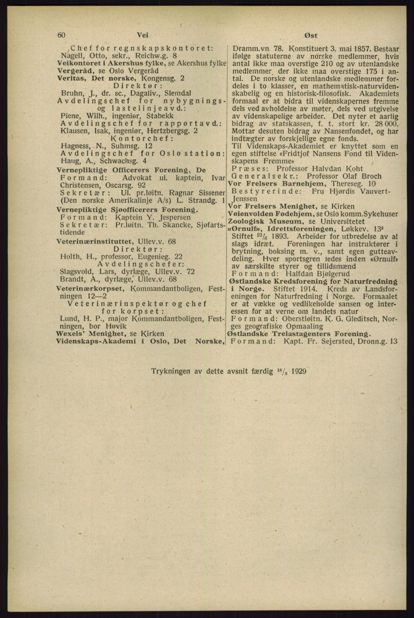 RA, Oslo adressebok (publikasjon)*, 1929, s. 60