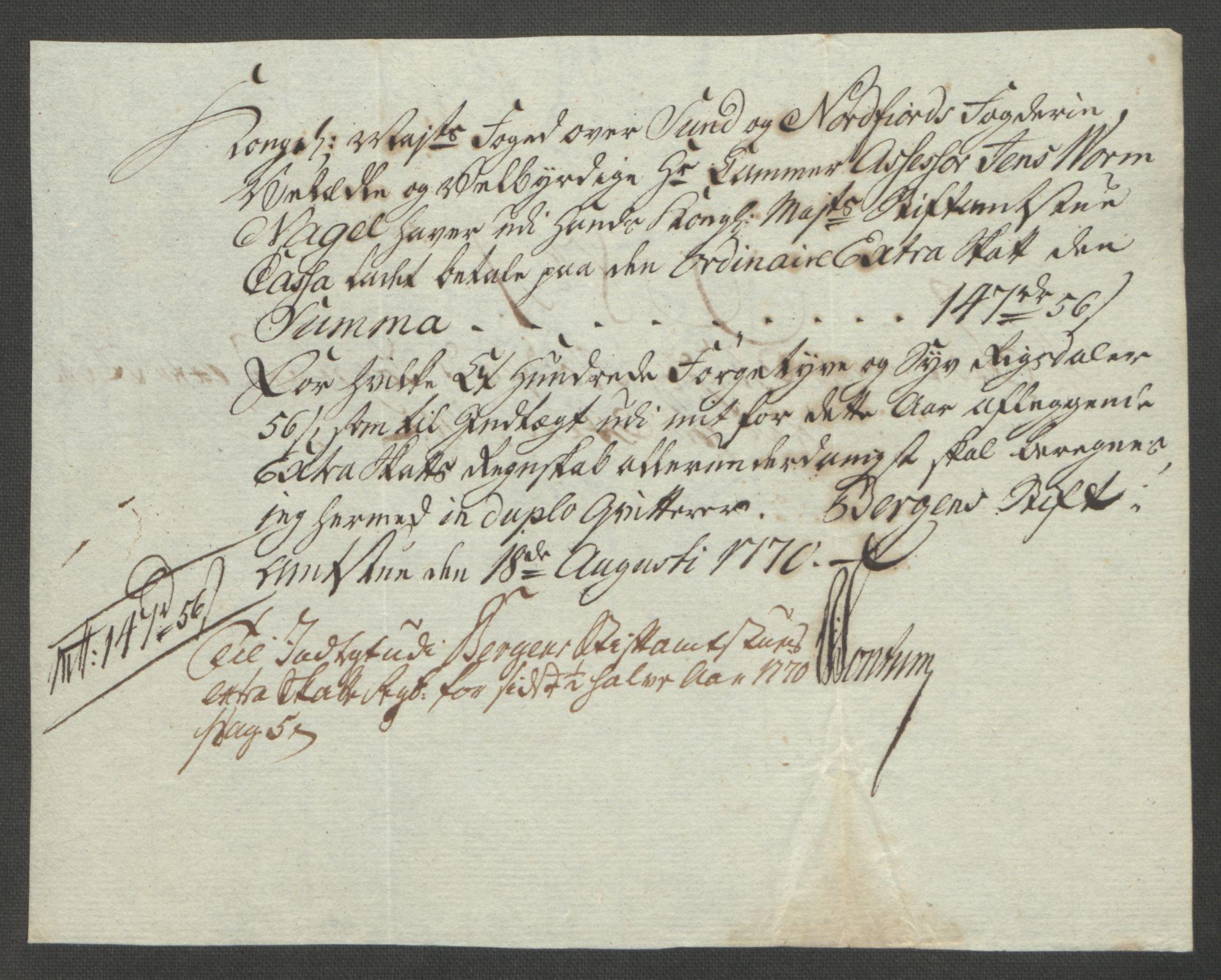 RA, Rentekammeret inntil 1814, Reviderte regnskaper, Fogderegnskap, R53/L3550: Ekstraskatten Sunn- og Nordfjord, 1762-1771, s. 317