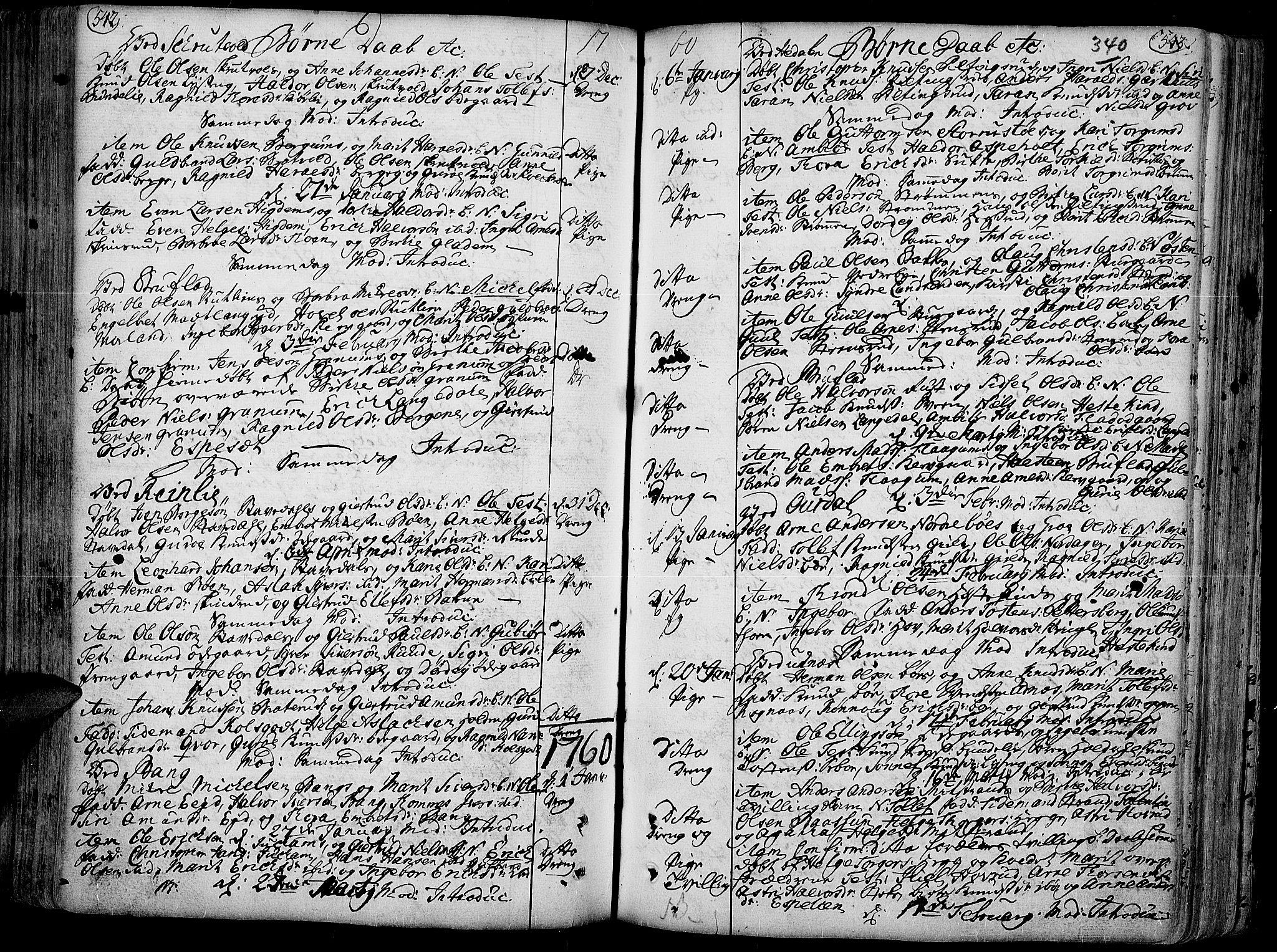 SAH, Aurdal prestekontor, Ministerialbok nr. 4, 1730-1762, s. 542-543