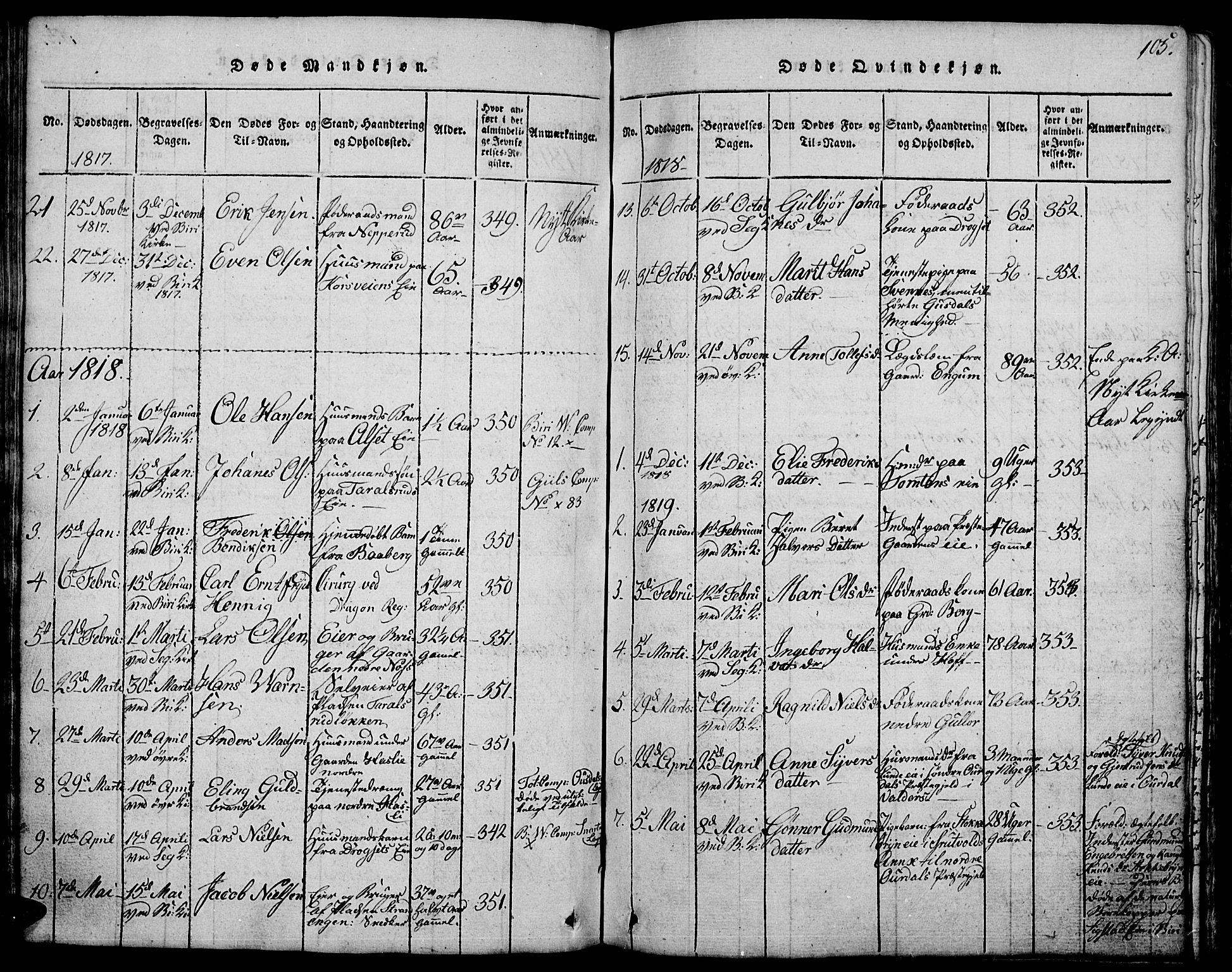 SAH, Biri prestekontor, Klokkerbok nr. 1, 1814-1828, s. 105