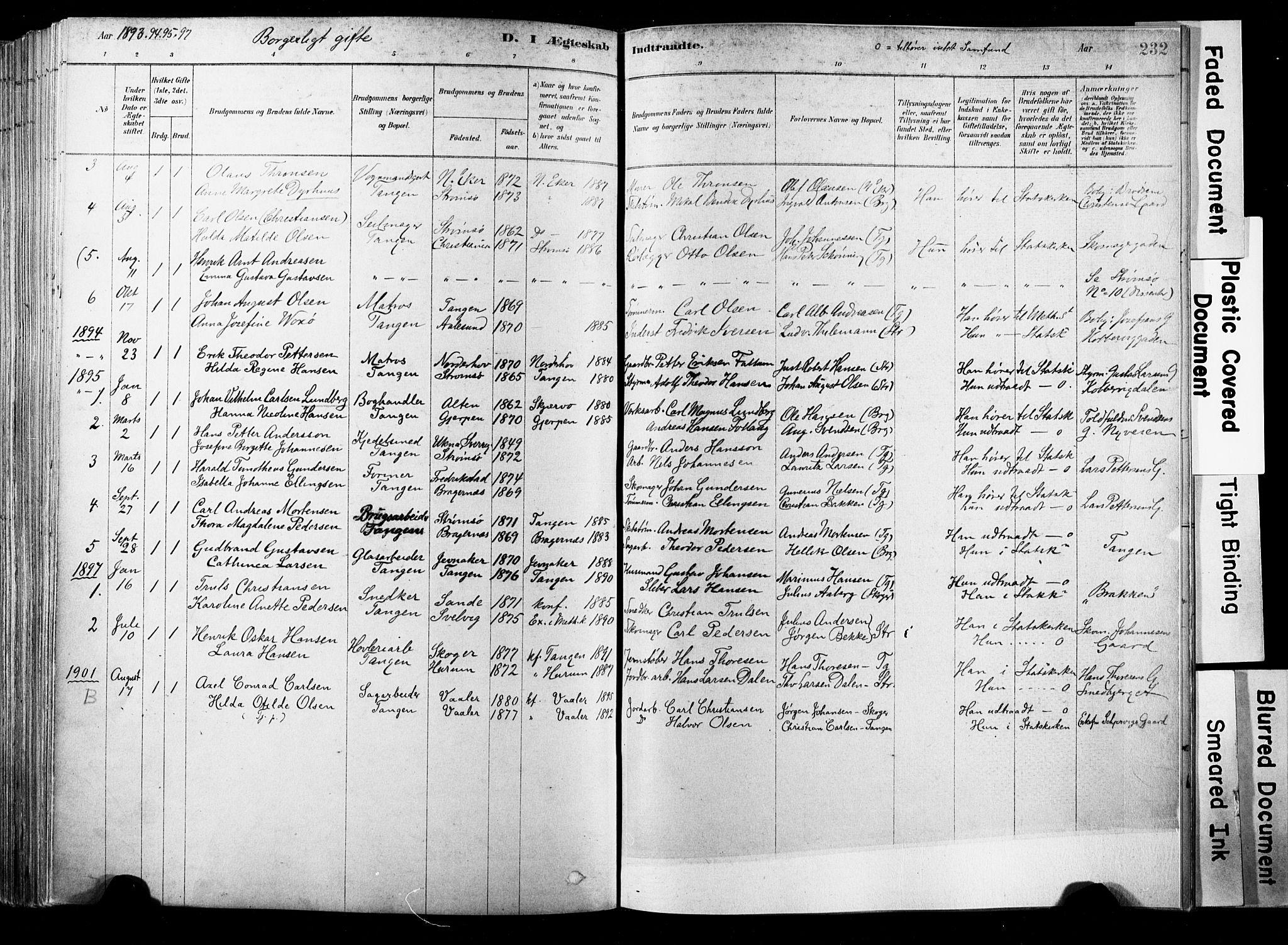 SAKO, Strømsø kirkebøker, F/Fb/L0006: Ministerialbok nr. II 6, 1879-1910, s. 232
