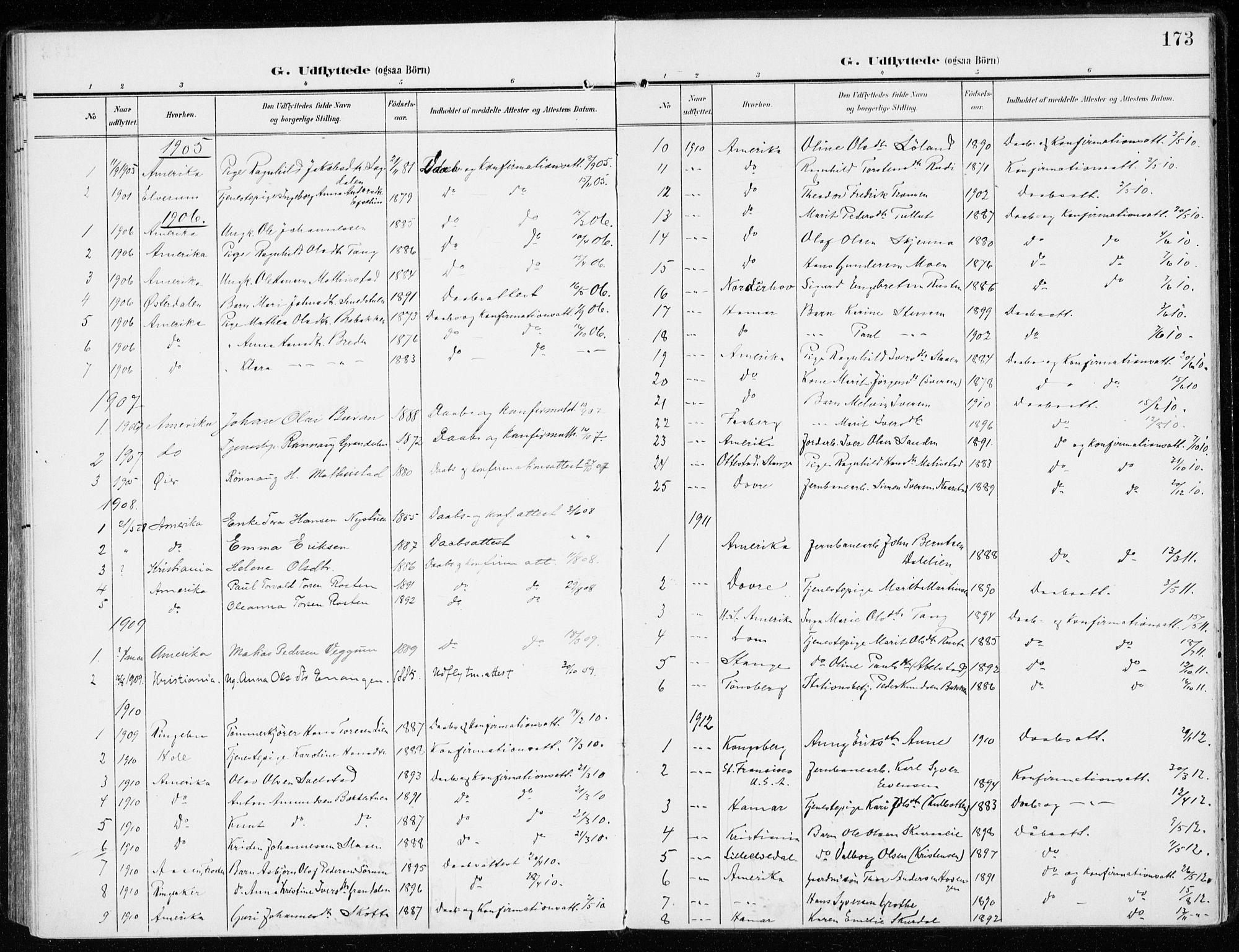 SAH, Sel prestekontor, Ministerialbok nr. 2, 1905-1919, s. 173
