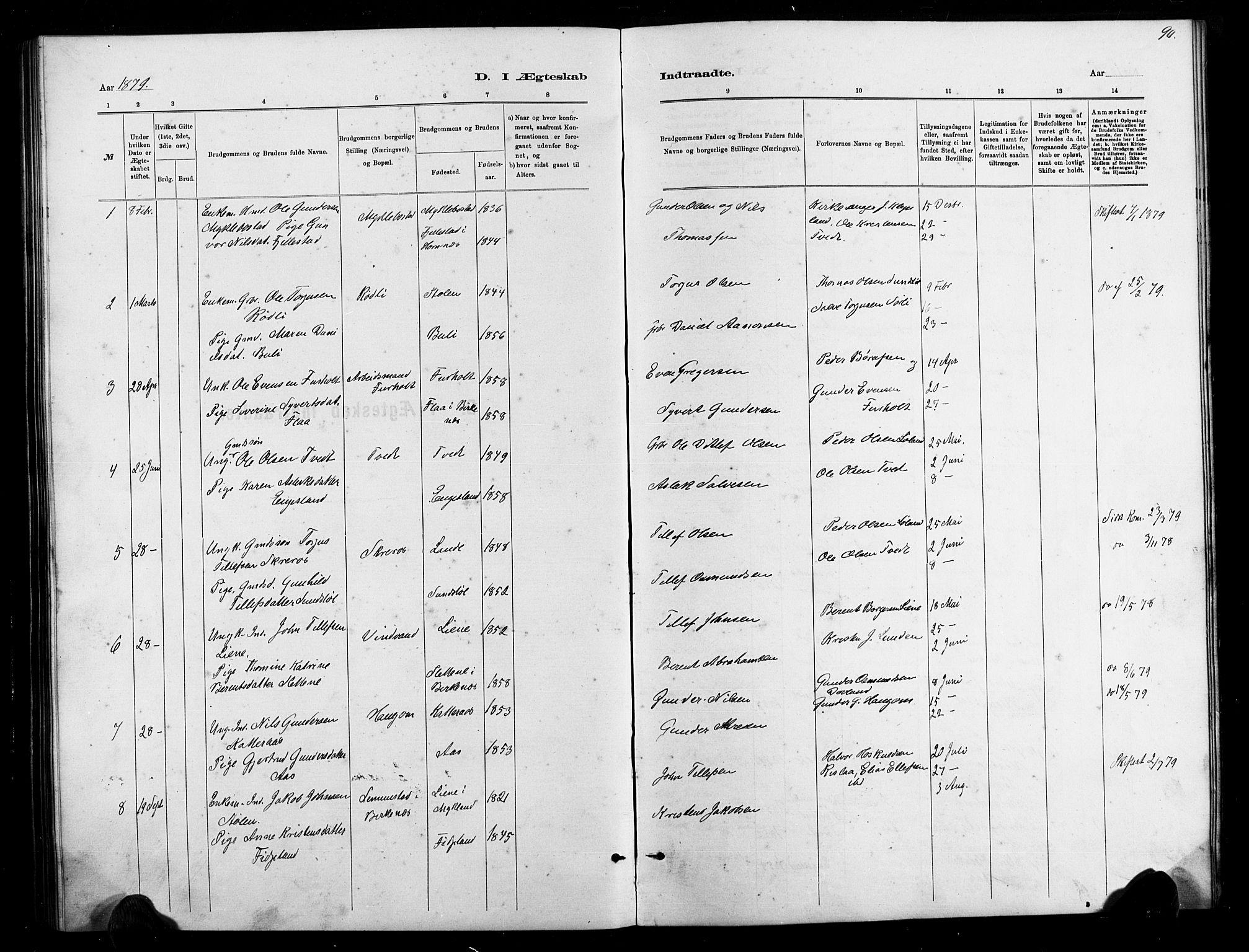 SAK, Herefoss sokneprestkontor, F/Fb/Fbb/L0002: Klokkerbok nr. B 2, 1879-1894, s. 90