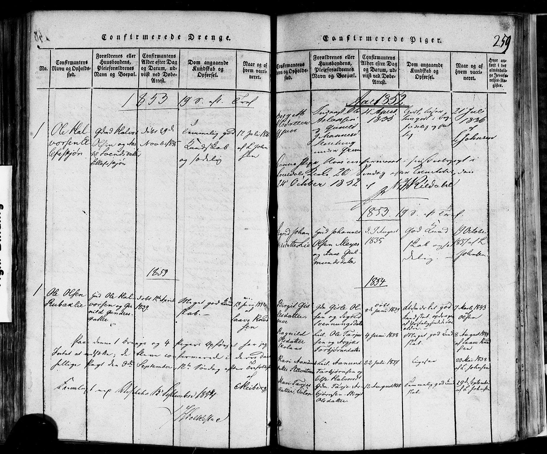 SAKO, Rauland kirkebøker, F/Fa/L0002: Ministerialbok nr. 2, 1815-1860, s. 259