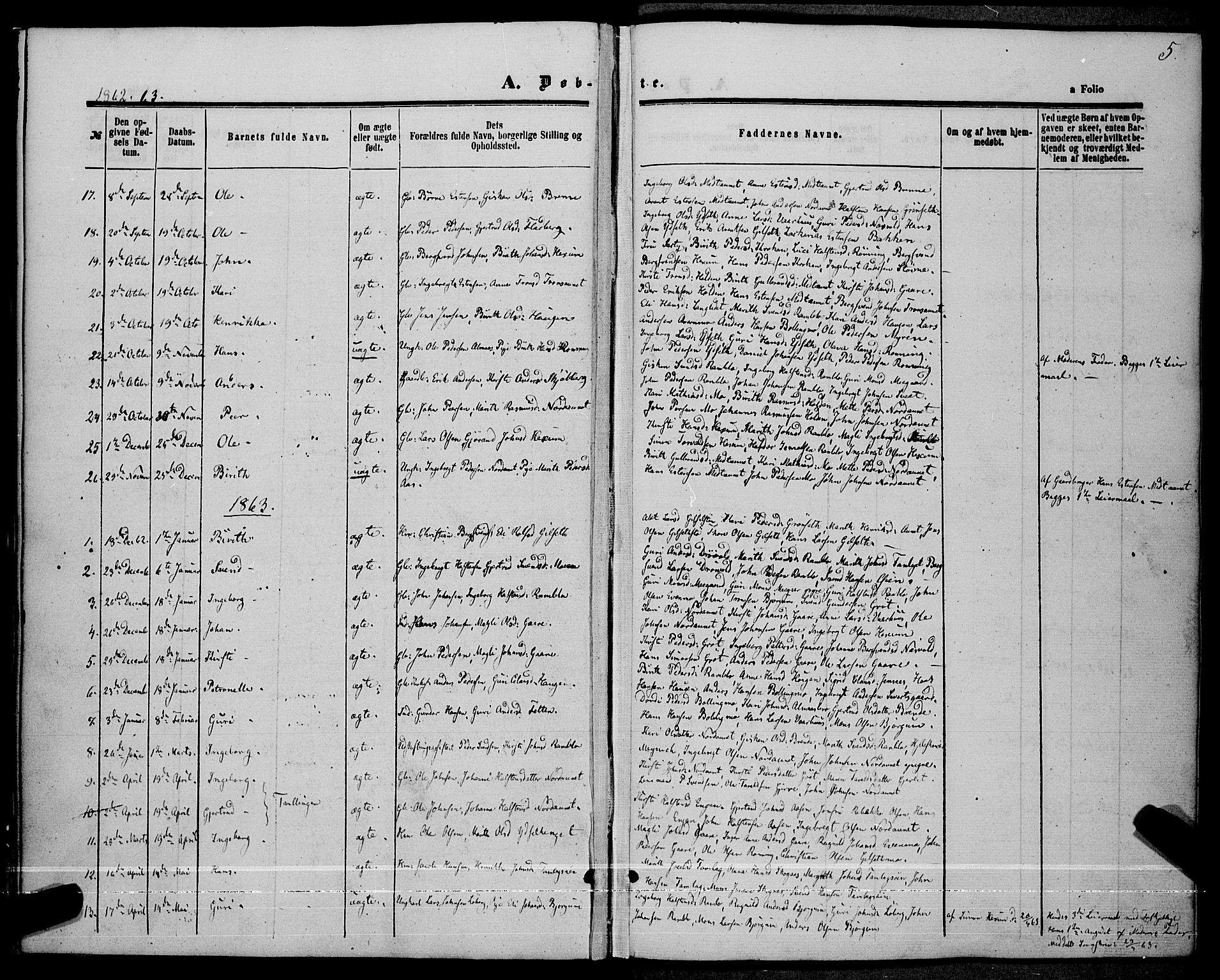 SAT, Ministerialprotokoller, klokkerbøker og fødselsregistre - Sør-Trøndelag, 685/L0966: Ministerialbok nr. 685A07 /1, 1860-1869, s. 5