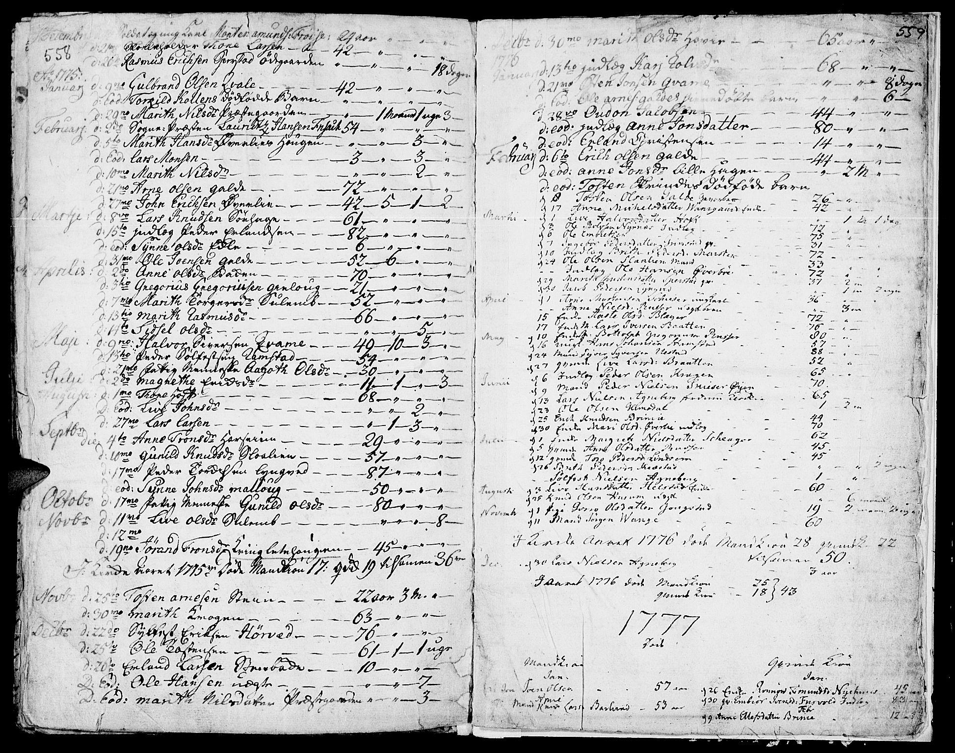 SAH, Lom prestekontor, K/L0002: Ministerialbok nr. 2, 1749-1801, s. 558-559
