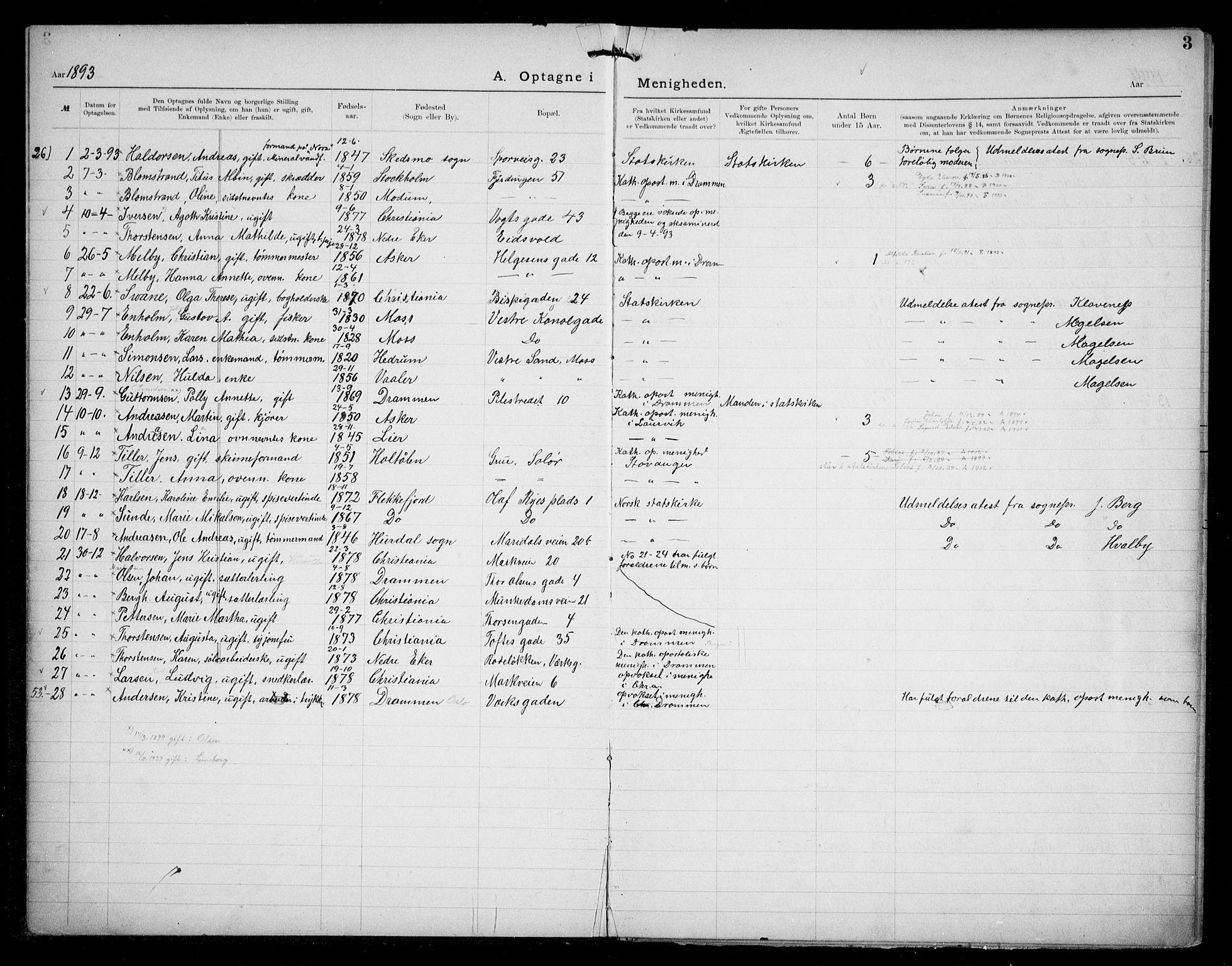 SAO, Den katolsk apostoliske menighet i Oslo , F/Fa/L0002: Dissenterprotokoll nr. 2, 1892-1937, s. 3
