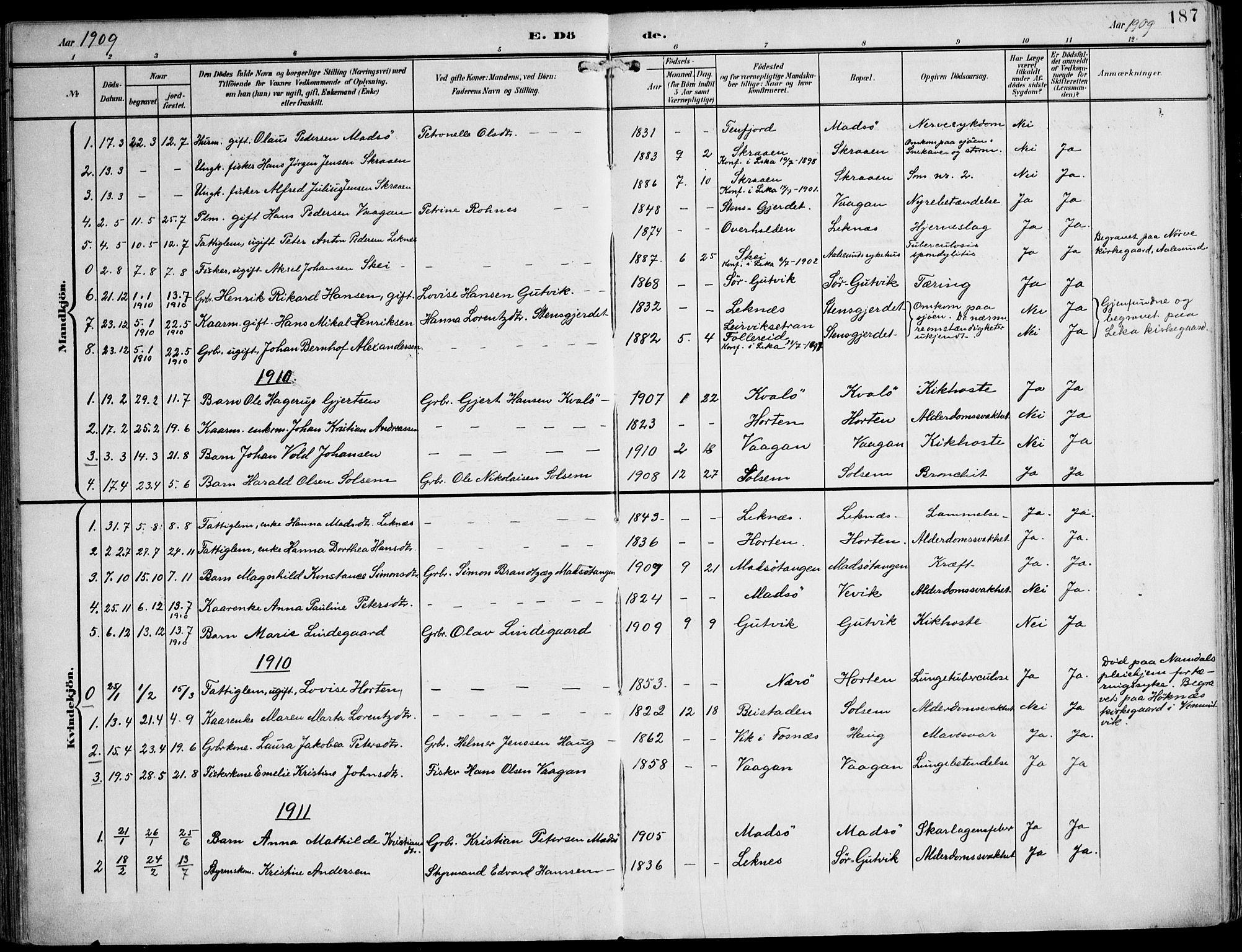 SAT, Ministerialprotokoller, klokkerbøker og fødselsregistre - Nord-Trøndelag, 788/L0698: Ministerialbok nr. 788A05, 1902-1921, s. 187