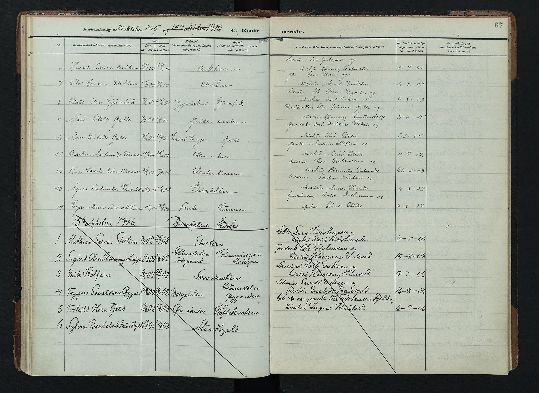 SAH, Lom prestekontor, K/L0012: Ministerialbok nr. 12, 1904-1928, s. 67