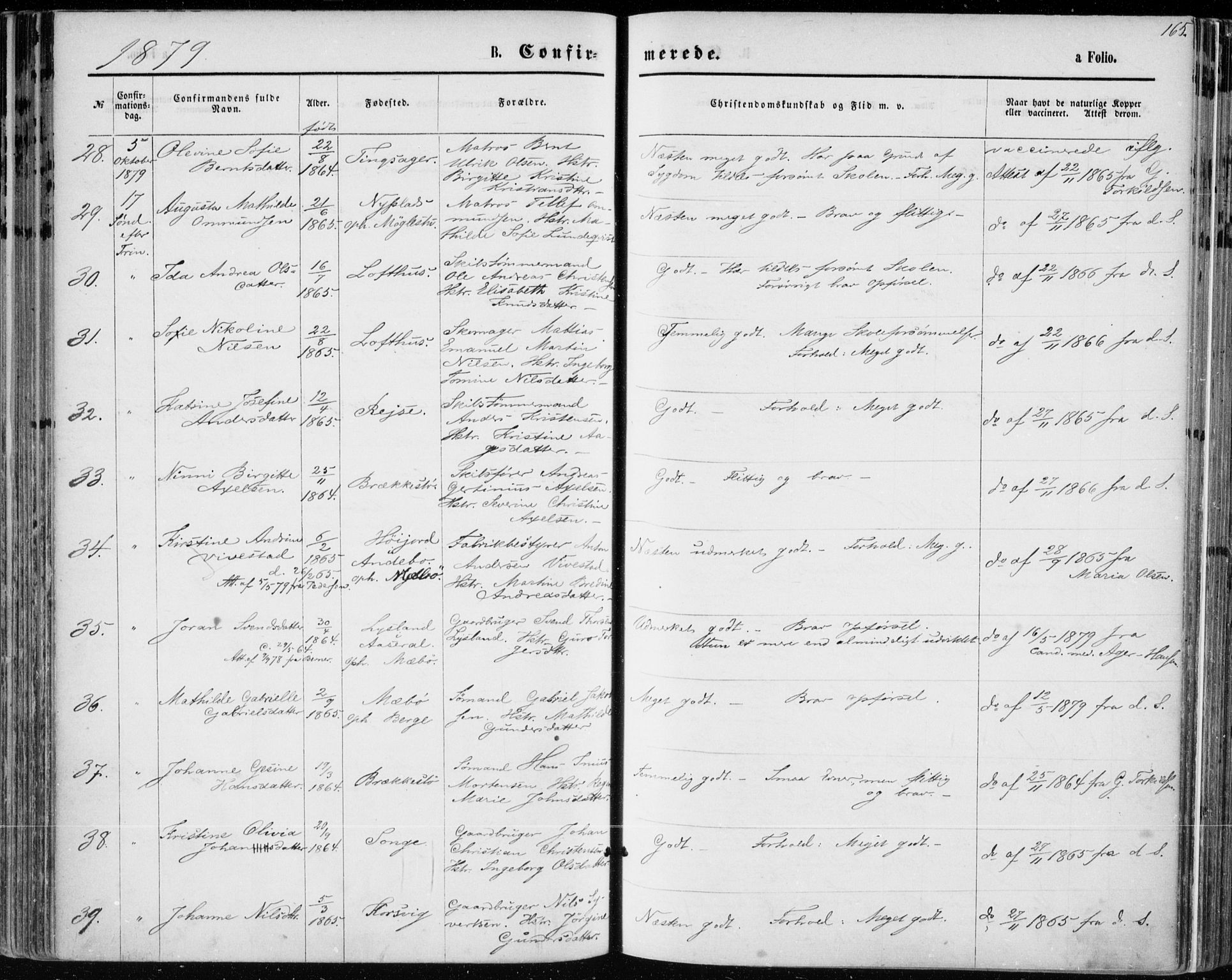SAK, Vestre Moland sokneprestkontor, F/Fa/Fab/L0008: Ministerialbok nr. A 8, 1873-1883, s. 165